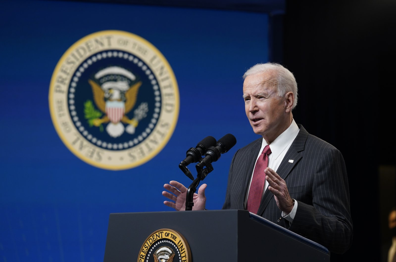 U.S. President Joe Biden speaks about his administration's response to the coup in Myanmar in the South Court Auditorium on the White House complex, Wednesday, Feb. 10, 2021, in Washington. (AP Photo)