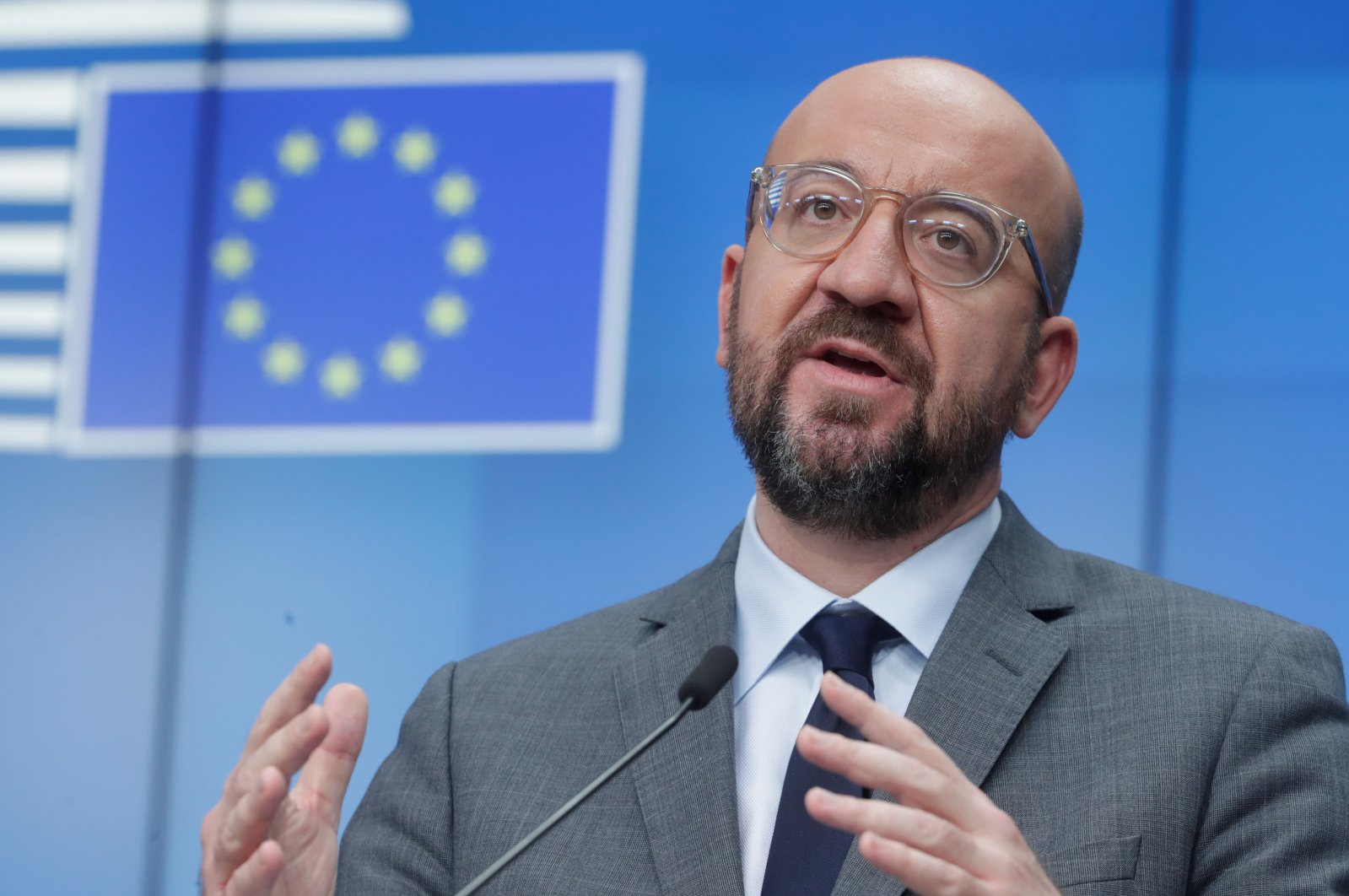 Charles Michel, President of European Council, gives a speech at the bloc's headquarters in Belgium's Brussels, Jan. 21 2021. (Reuters Photo)