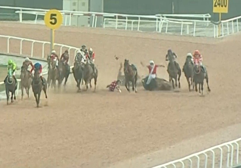 The photo shows the moment of the chain accident during a horse race in Tukey's Adana province, Feb. 6, 2021. (DHA Photo)