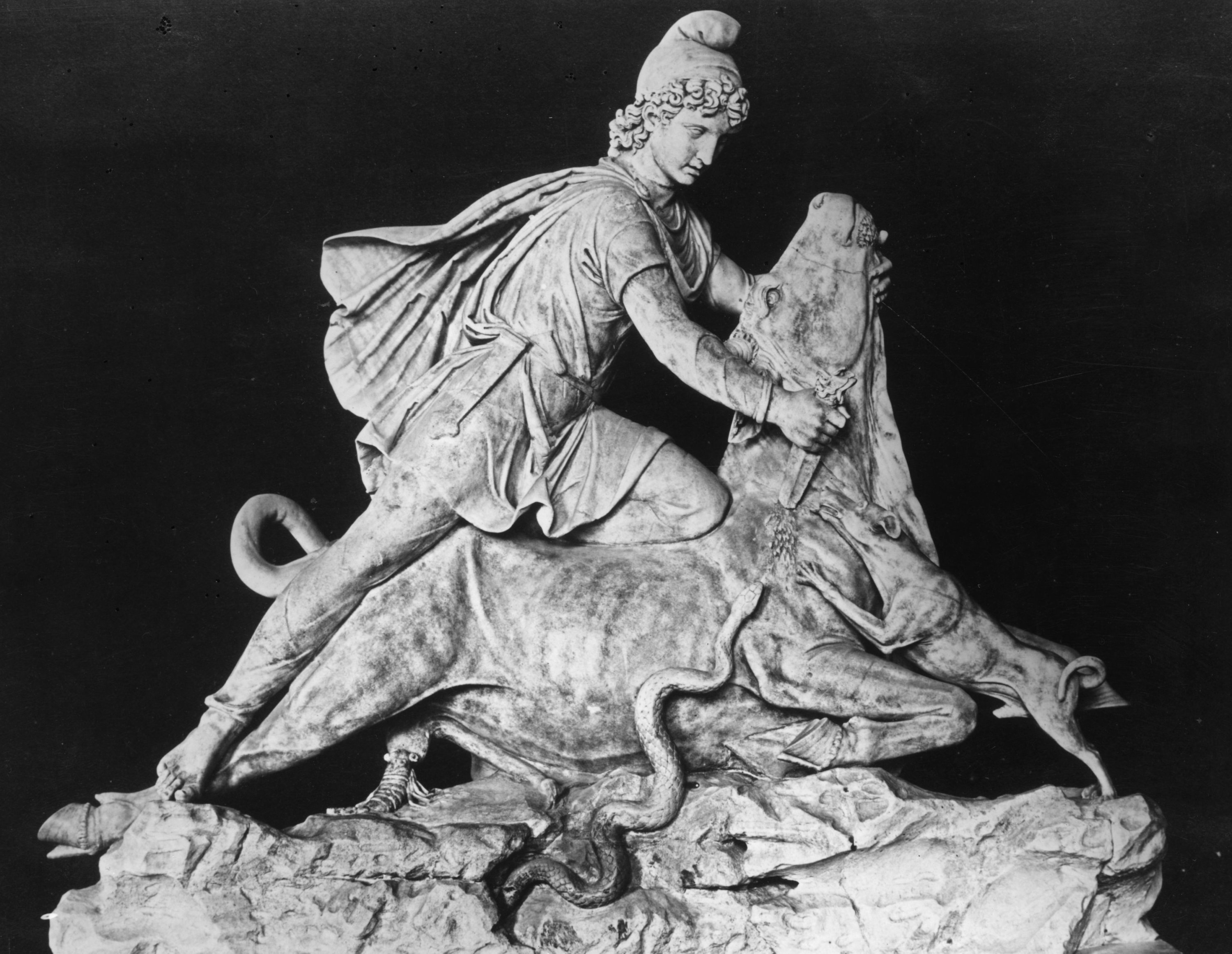 A cult statue of the sun god Mithra slaying the sacred bull with his dagger. (Getty Images)