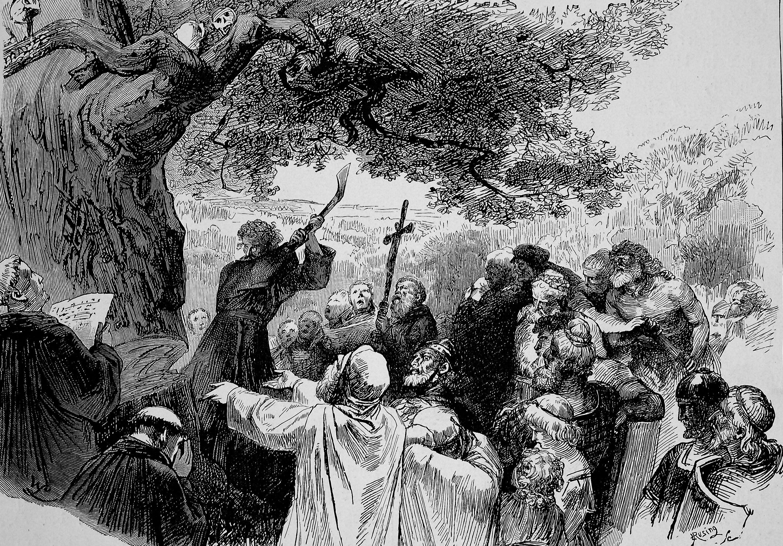 A historical illustration shows Saint Boniface felling the big oak tree among the Druids. (Getty Images)