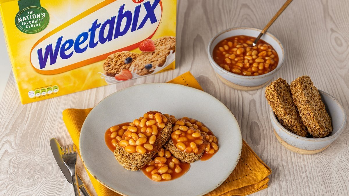 The controversial image that shows beans on Weetabix, shared by Weetabix's official Twitter account on Feb. 9, 2021. (Photo by Weetabix)