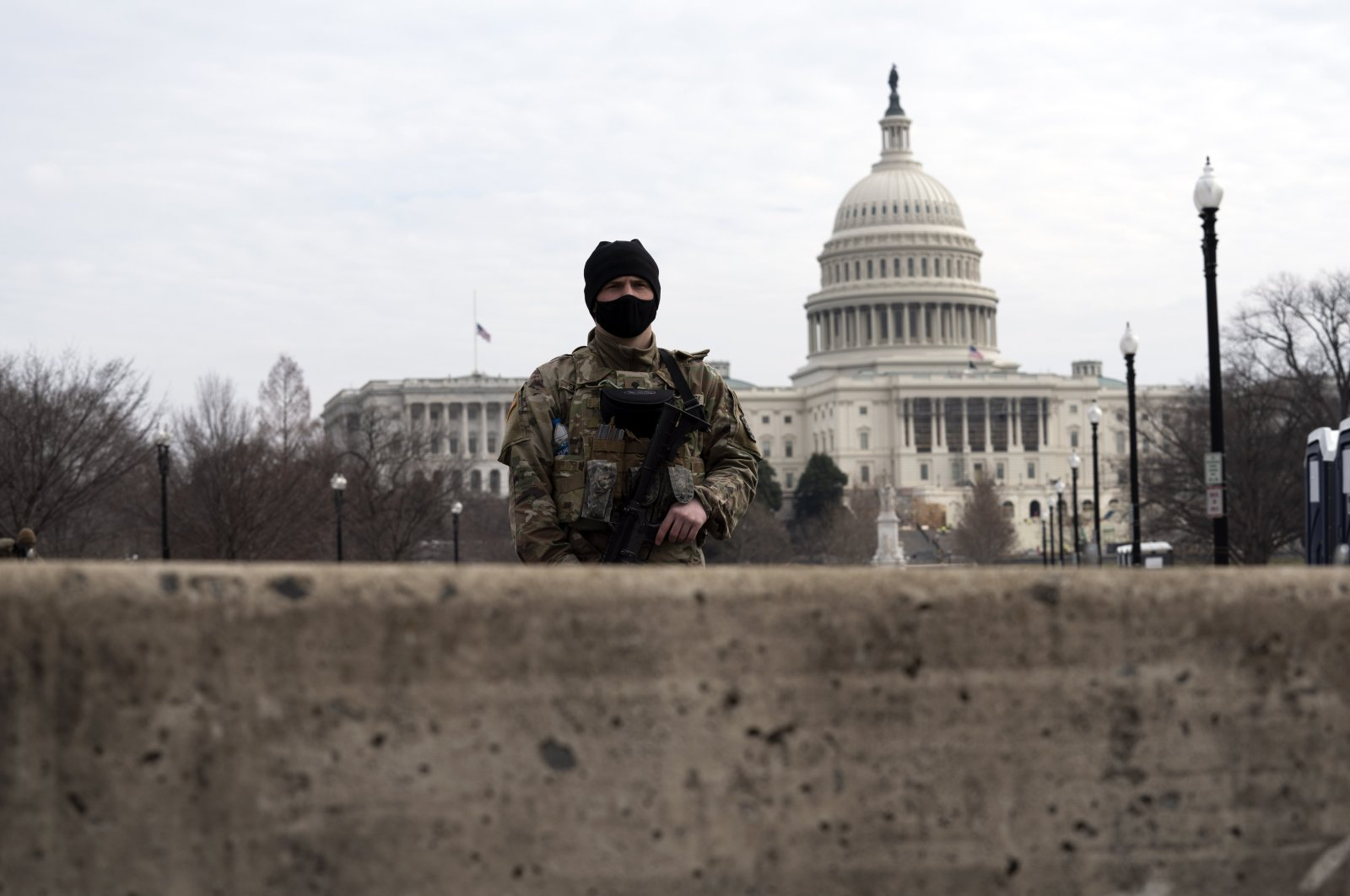 Members of the National Guard patrol the area outside of the U.S. Capitol during the impeachment trial of former President Donald Trump at the Capitol in Washington, D.C., U.S., Feb. 10, 2021. (AP Photo)