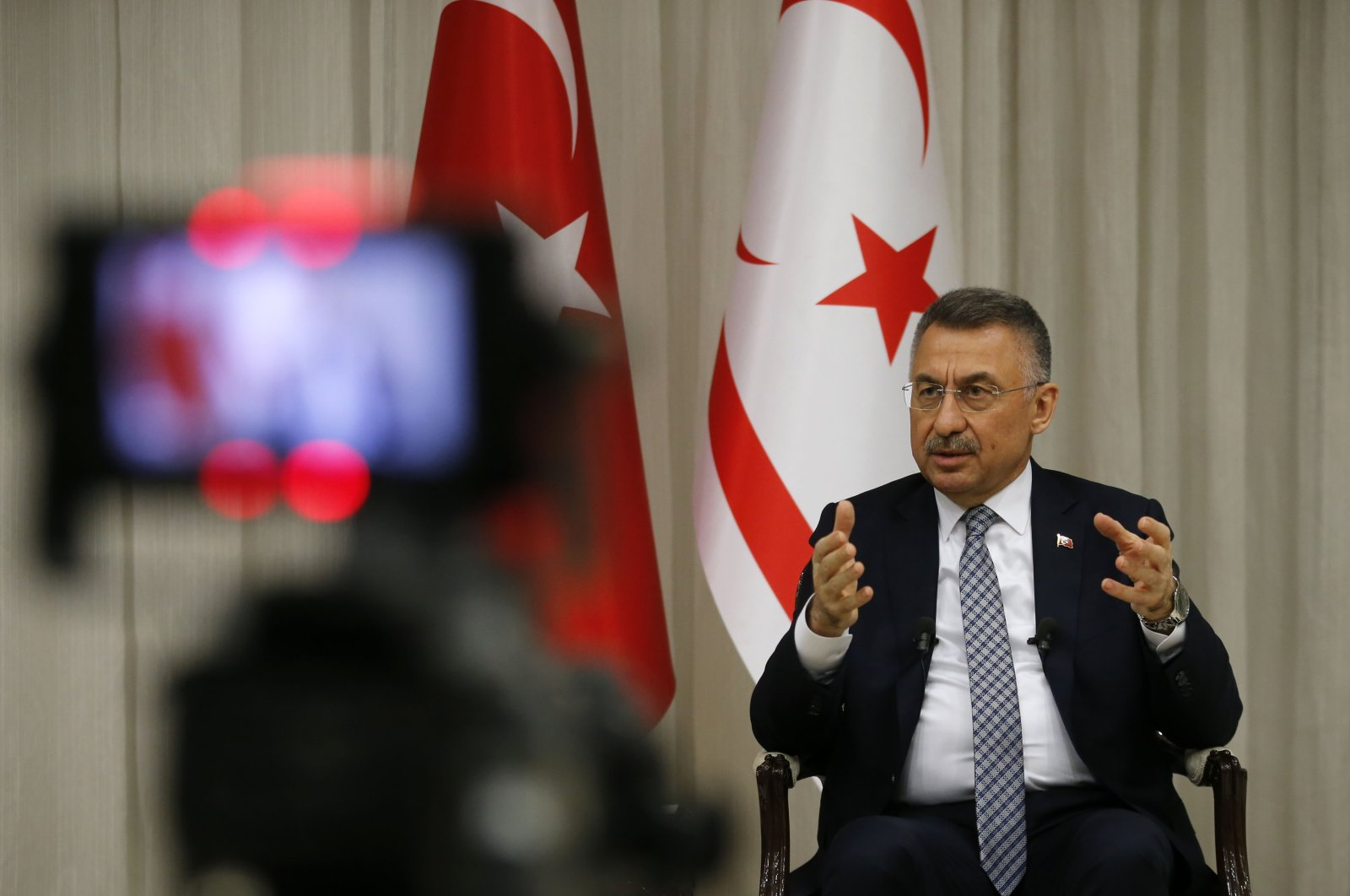 Vice President Fuat Oktay speaks on a live broadcast on the BRT TV channel in the Turkish Republic of Northern Cyprus (TRNC), Feb. 10, 2021. (AA Photo)