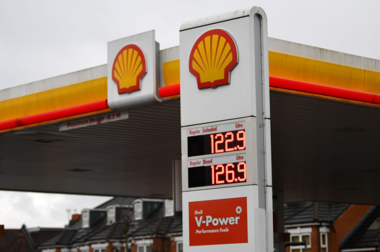 Shell logos can be seen at a service station in London, the U.K., Feb. 4, 2021. (AFP Photo)