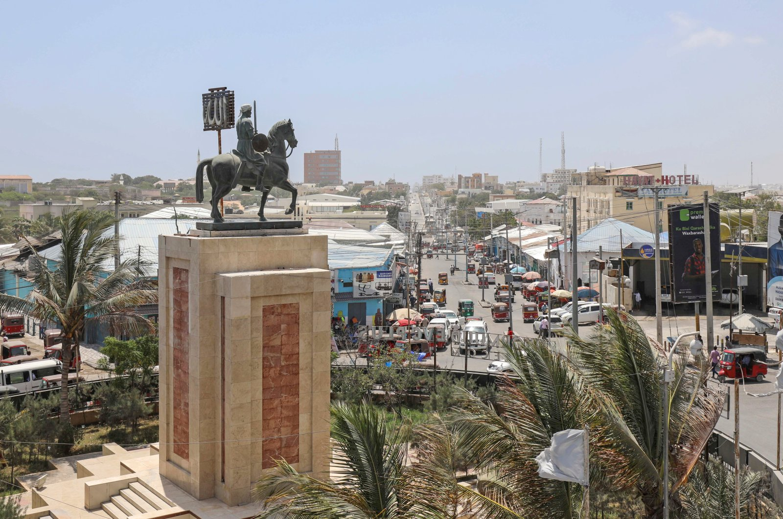 A general view of the Ahmed Gurey monument at the KM4 roundabout in Mogadishu, Somalia, Feb. 8, 2021. (Reuters Photo)
