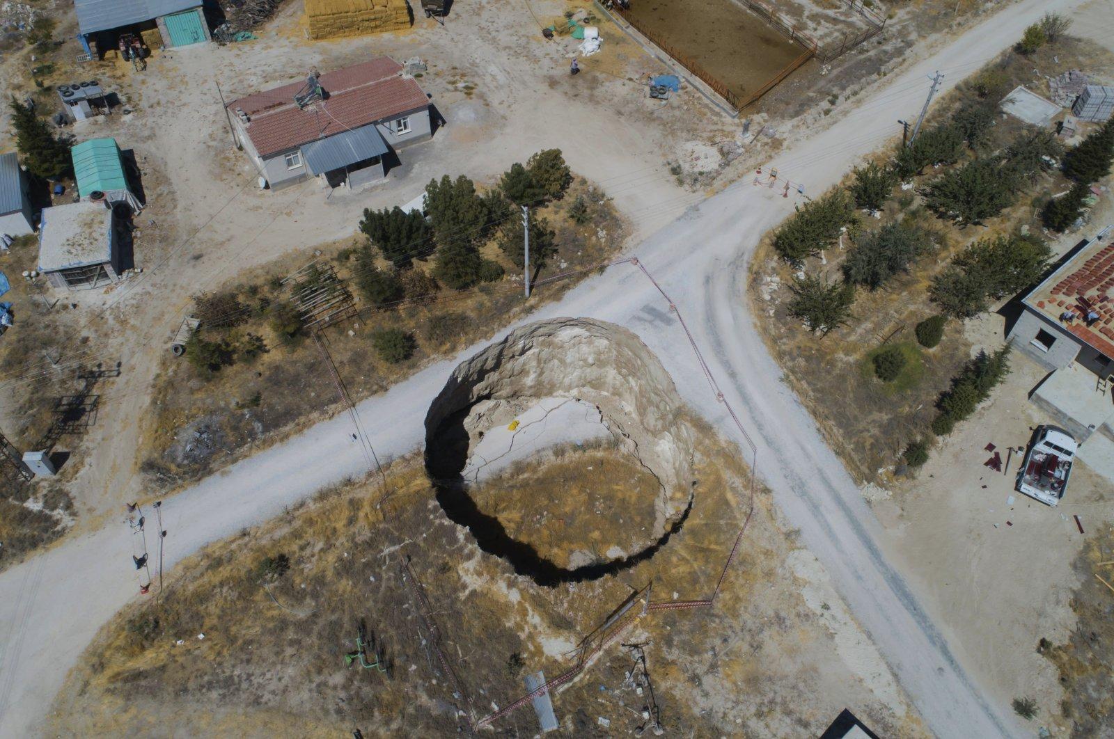 An aerial view of a sinkhole in Karapınar district, in Konya, central Turkey, Feb. 11, 2021. (DHA PHOTO)