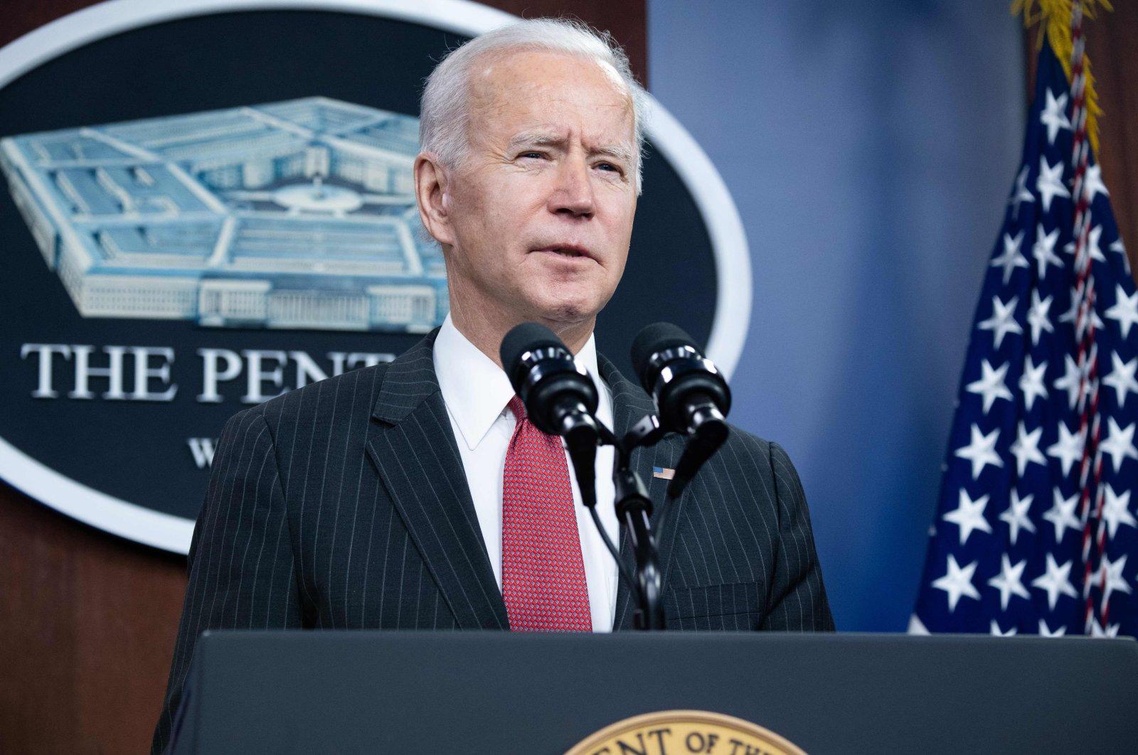 US President Joe Biden speaks during a visit to the Pentagon in Washington D.C., Feb. 10, 2021. (AFP Photo)