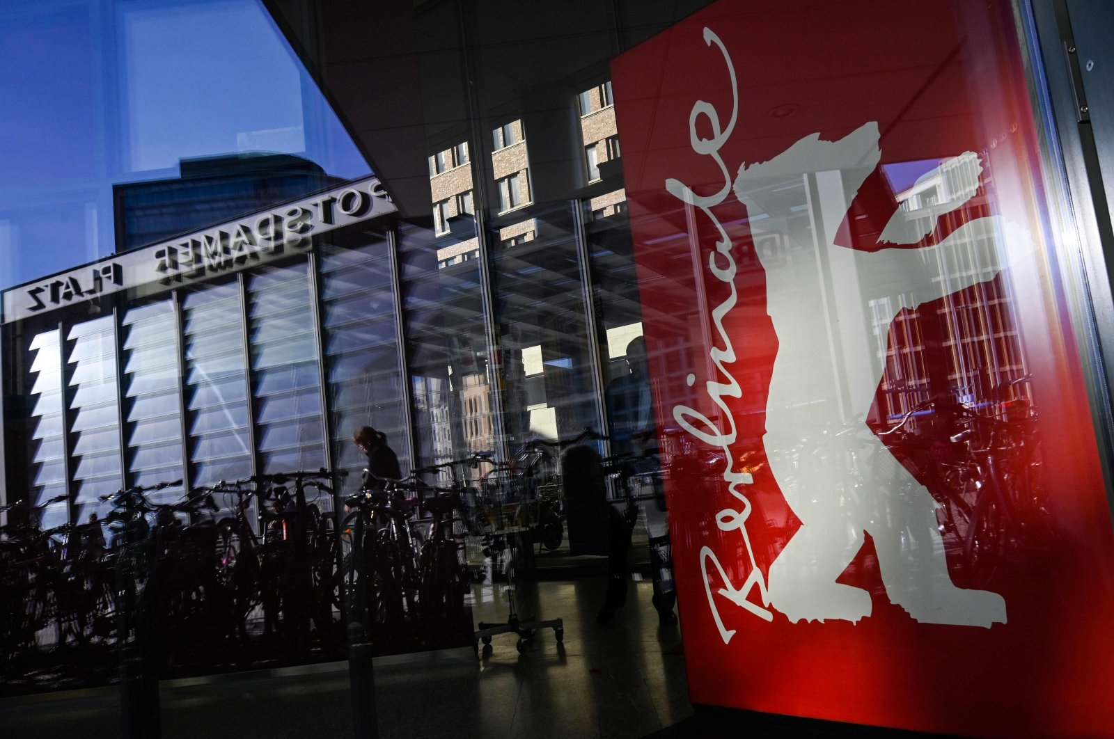 A poster depicting the logo of the Berlin film festival is pictured at the Potsdamer Platz during the 69th Berlinale film festival, Feb. 15, 2019. (AFP Photo)