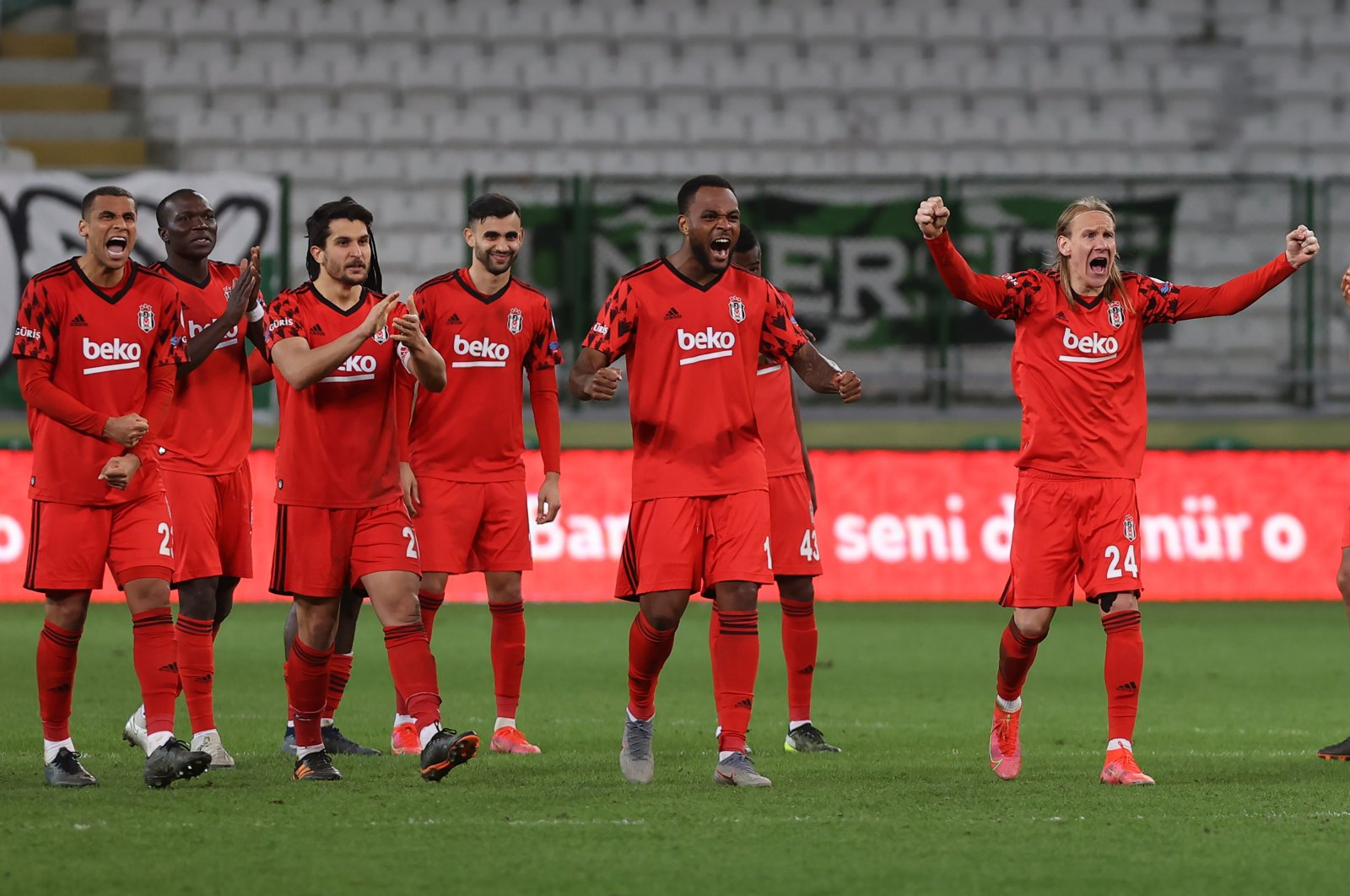 Beşiktaş players celebrate after a goal during the penalty shoot-out of their Ziraat Turkish Cup quarterfinals match in Konya, Turkey, Feb. 11, 2021 (AA Photo)