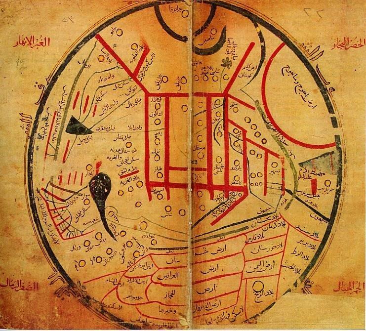 """A map from Mahmud of Kashgar's """"Diwan Lughat al-Turk"""" ("""