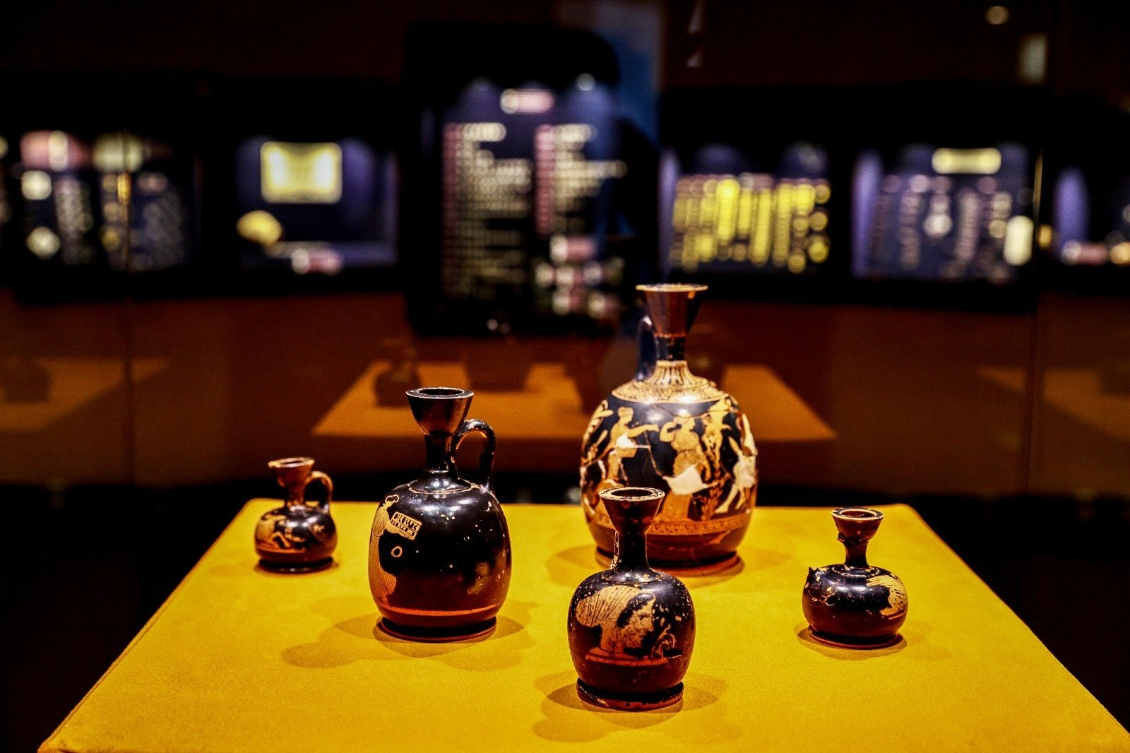 Ancient perfume bottles of various sizes can be seen on display at the Izmir Archaeological Museum, Izmir, western Turkey, Feb. 11, 2021. (AA Photo)