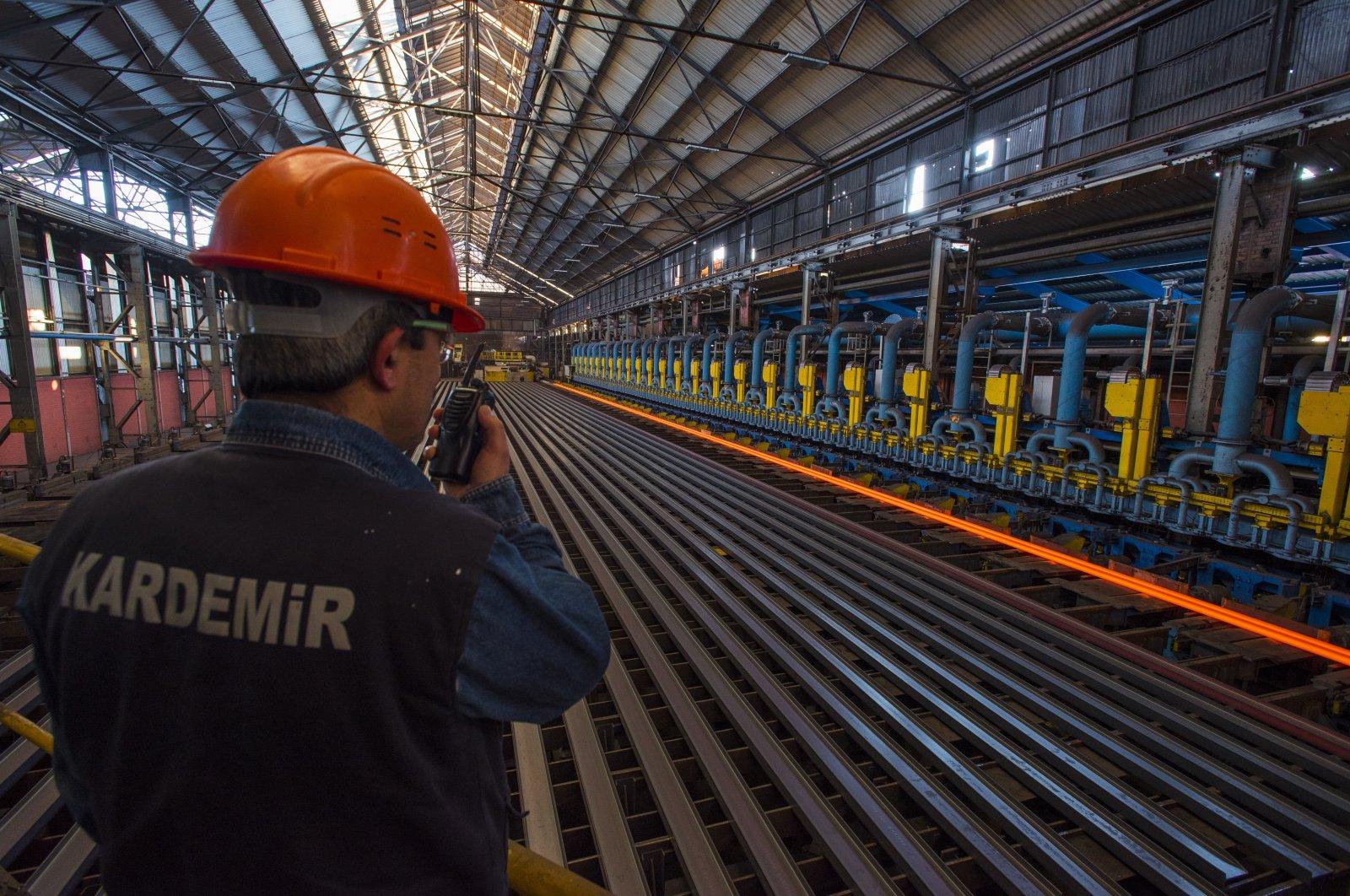 An employeeis seen at a factory of iron and steel producer Kardemirin Karabük province, northern Turkey, Turkey, Feb. 11, 2021. (AA Photo)