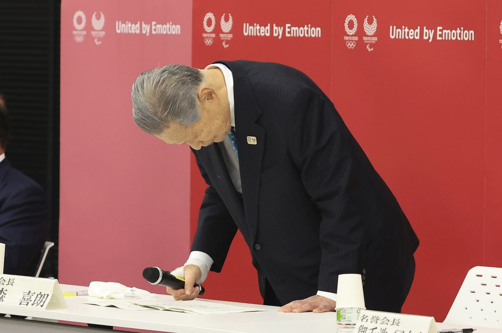 Tokyo 2020 Olympics Organizing Committee President Yoshiro Mori announces his resignation at a meeting with council and executive board members at the committee headquarters in Tokyo, Japan, Feb. 12, 2021. (AP Photo)
