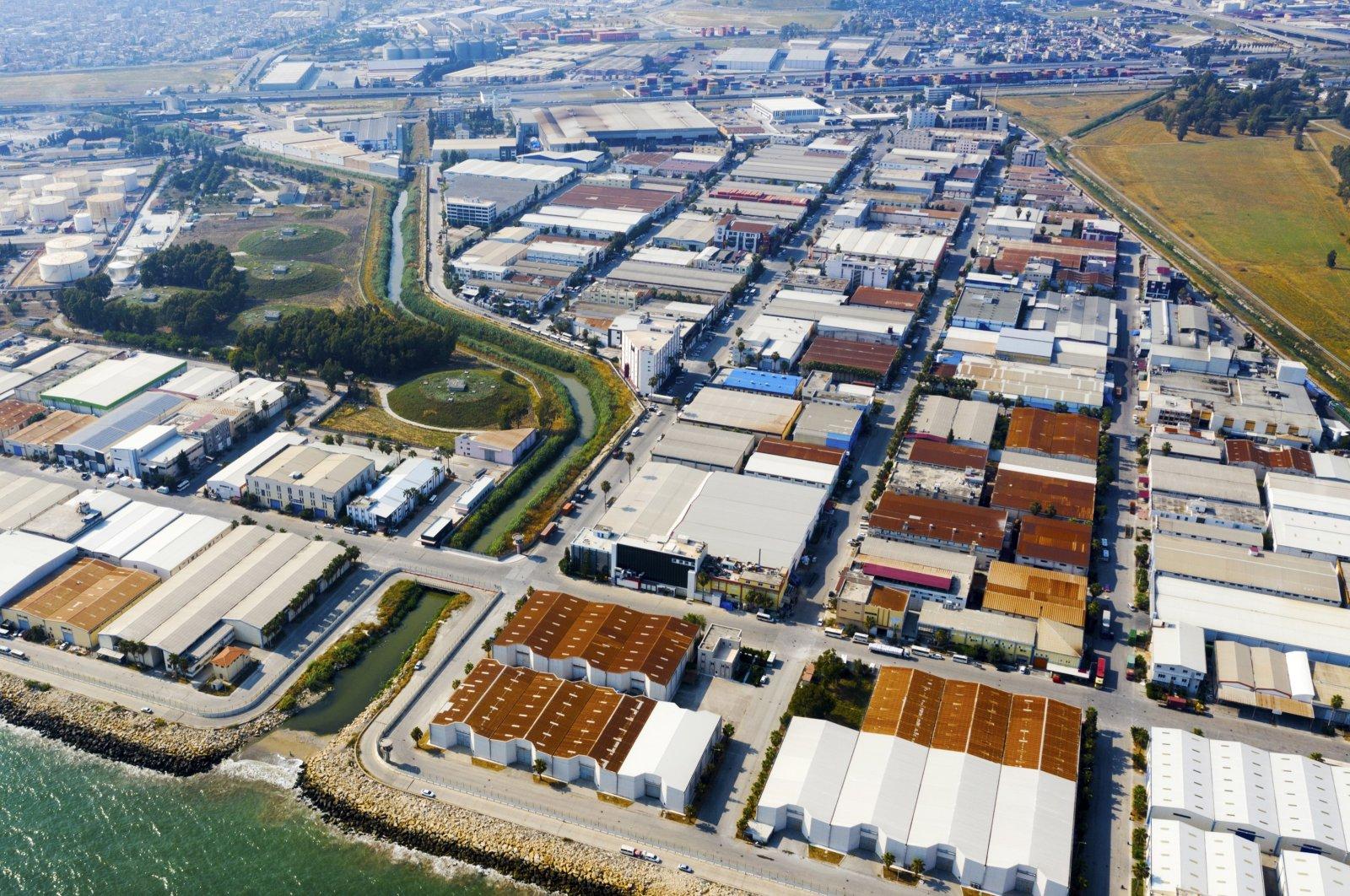The Specialized Organized Industrial Zone (OIZ) in southern Mersin province, Turkey, Feb. 9, 2021. (IHA Photo)