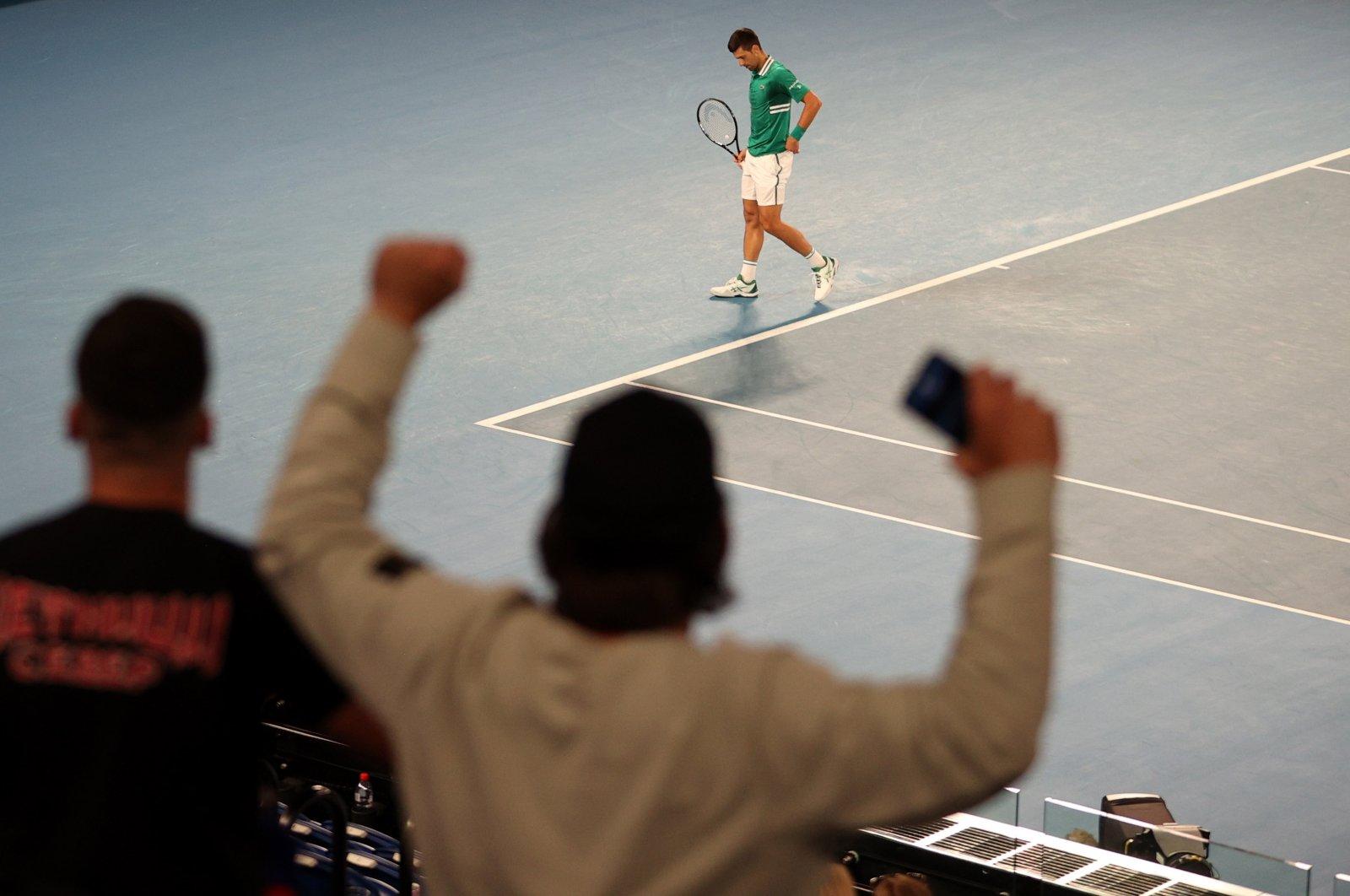 Fans react during an Australian Open tennis match between Novak Djokovic and Taylor Fritz, in Melbourne, Australia, Feb. 12, 2021. (Reuters Photo)