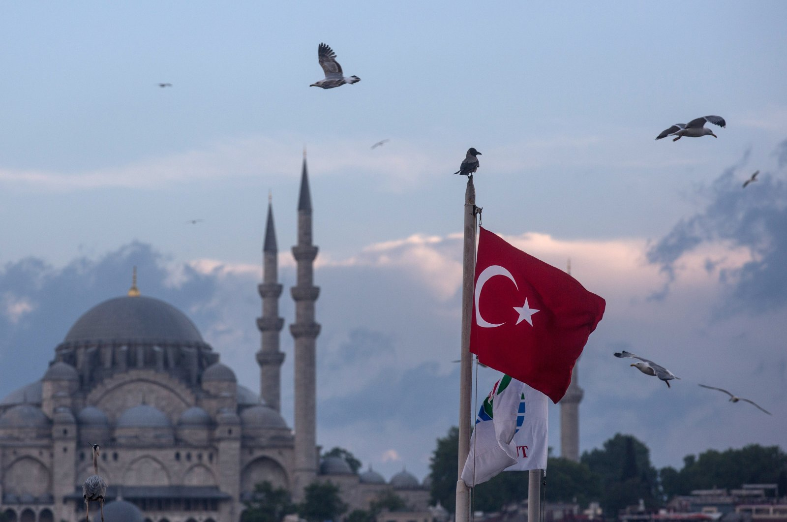Seagulls fly over a Turkish flag in Istanbul, Turkey, May 3, 2016. (Getty Images)