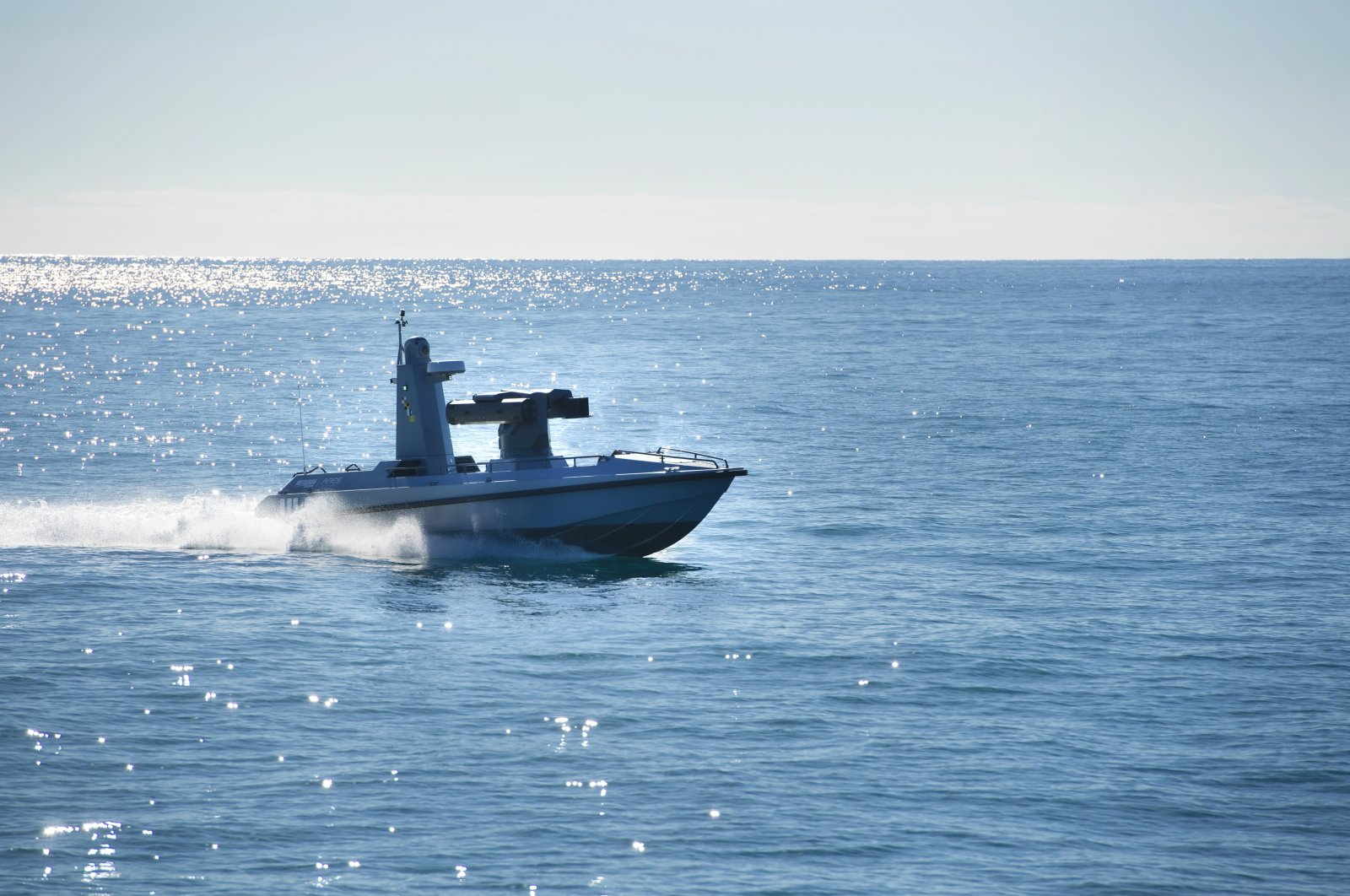 Turkey's first unmanned surface vessel, first of the ULAQ series, launched at sea, Feb. 12, 2021. (Courtesy of Meteksan Defense)