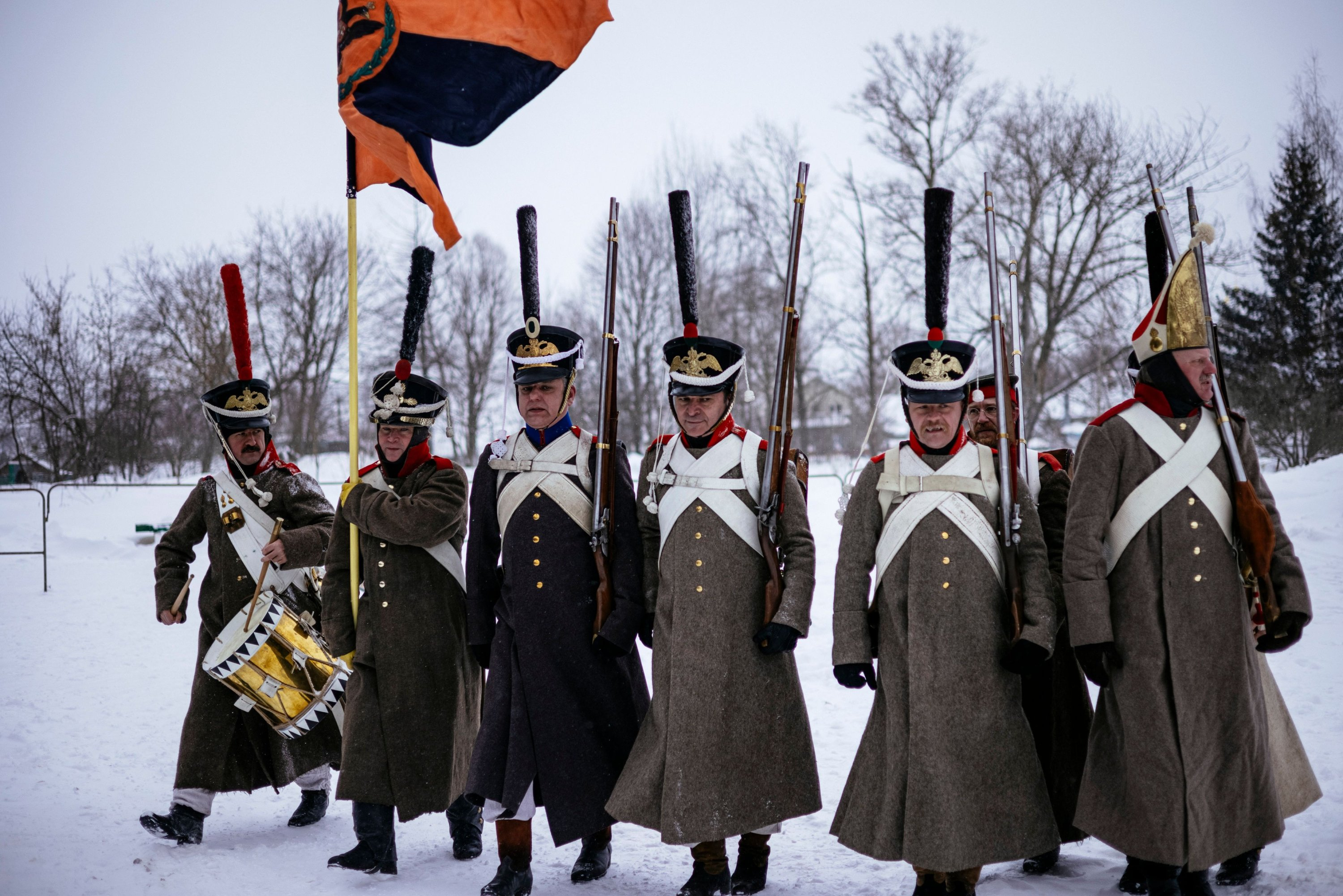 Reenactors in period uniforms attend the burial ceremony of Russian and French soldiers in the western town of Vyazma on Feb. 13, 2021. (AFP)