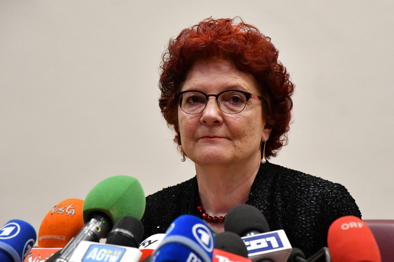 In this file photo Andrea Ammon, director of European Centre for Disease Prevention and Control, gives a press conference on the outbreak of COVID-19 in Rome, Italy, Feb. 26, 2020 (AFP)