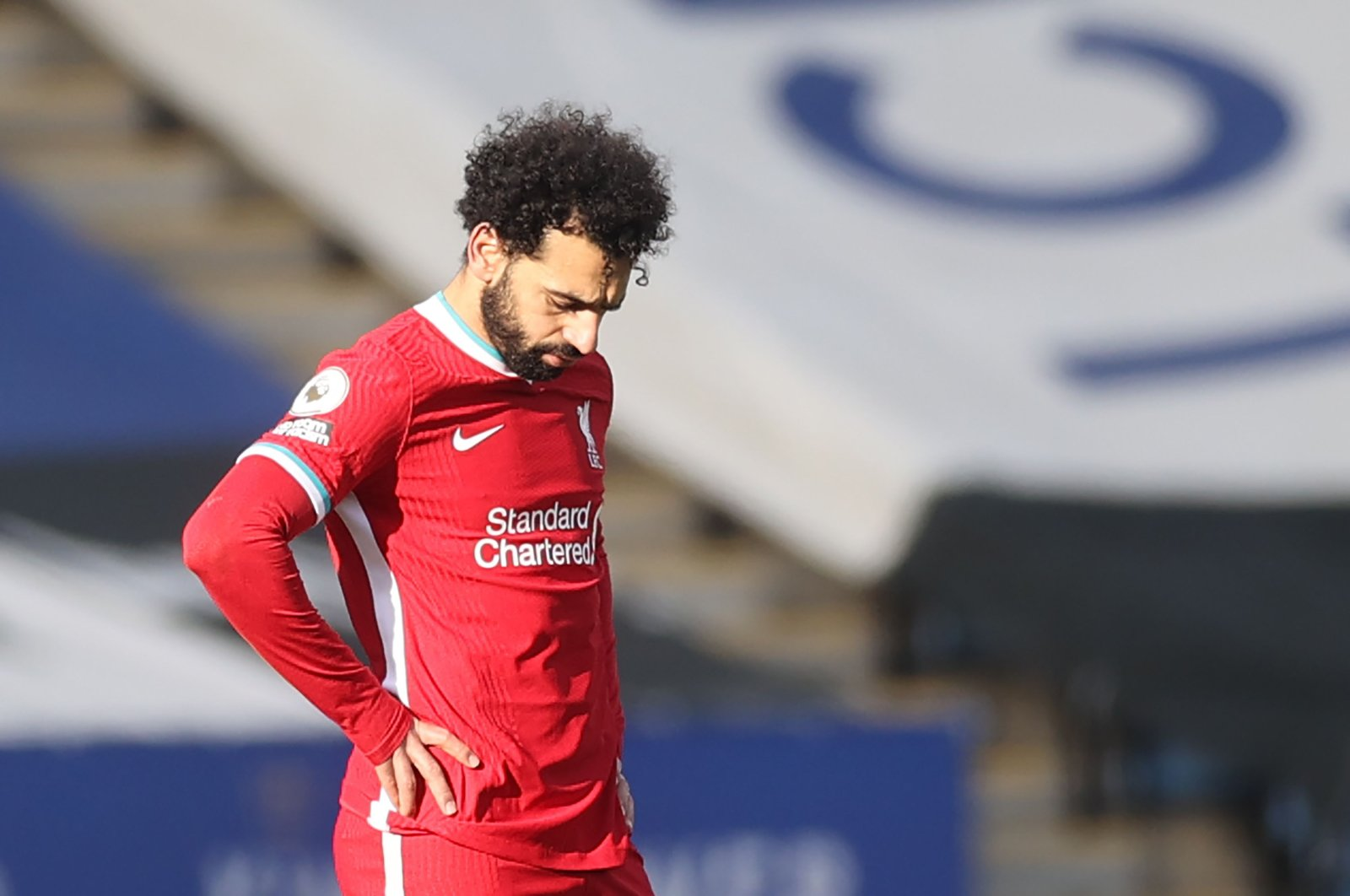 Liverpool's Egyptian midfielder Mohamed Salah reacts during the English Premier League football match between Leicester City and Liverpool at King Power Stadium in Leicester, central England, Feb. 13, 2021. (AFP Photo)