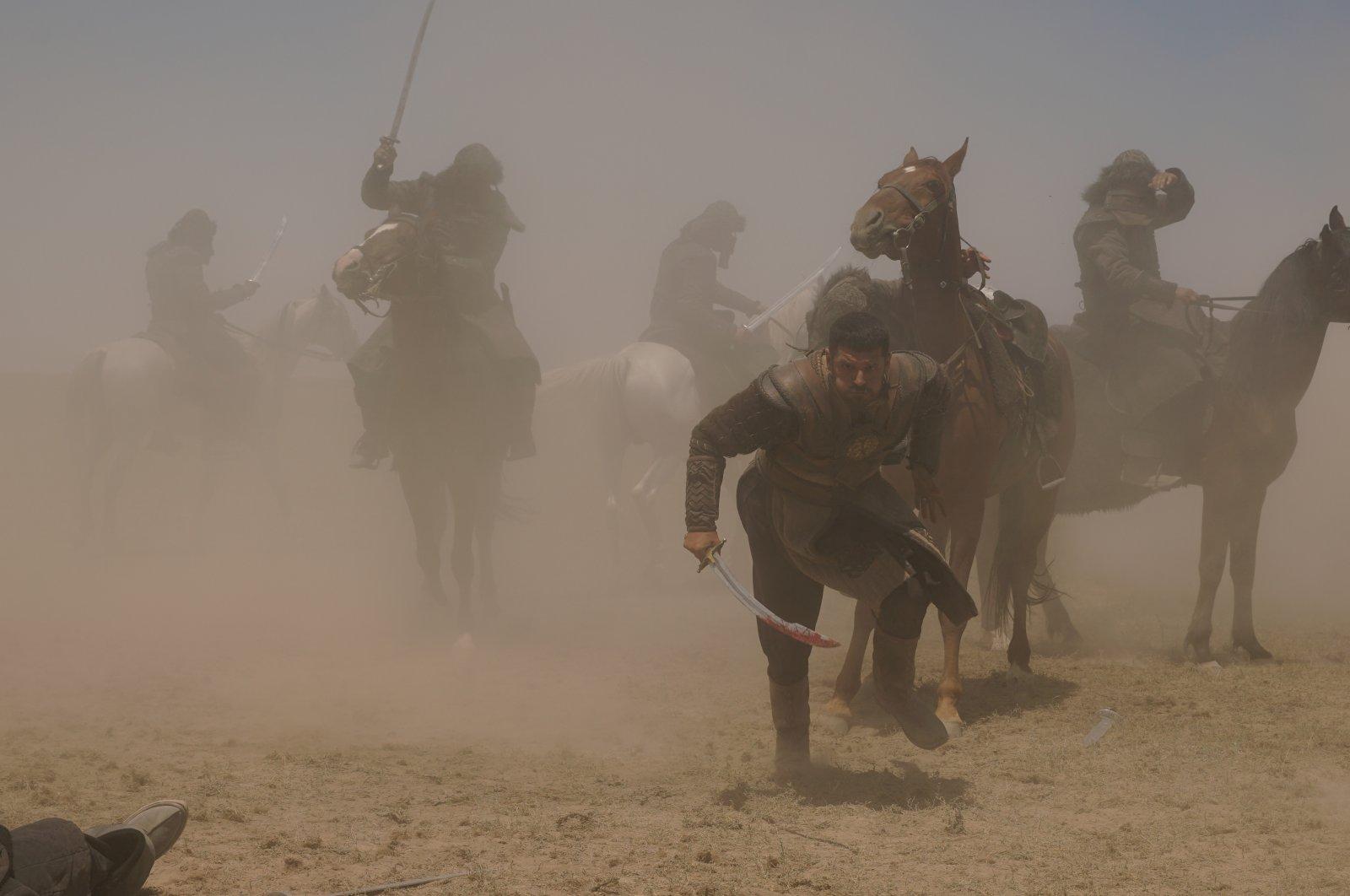"A war scene from the TV series, ""Mendirman Jaloliddin.""  (AA Photo)"