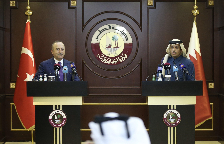Foreign Minister Mevlüt Çavuşoğlu at a news conference with his Qatari counterpart Sheikh Mohammed bin Abdulrahman Al Thani in Doha, Qatar, Feb. 11, 2021. (AA Photo)