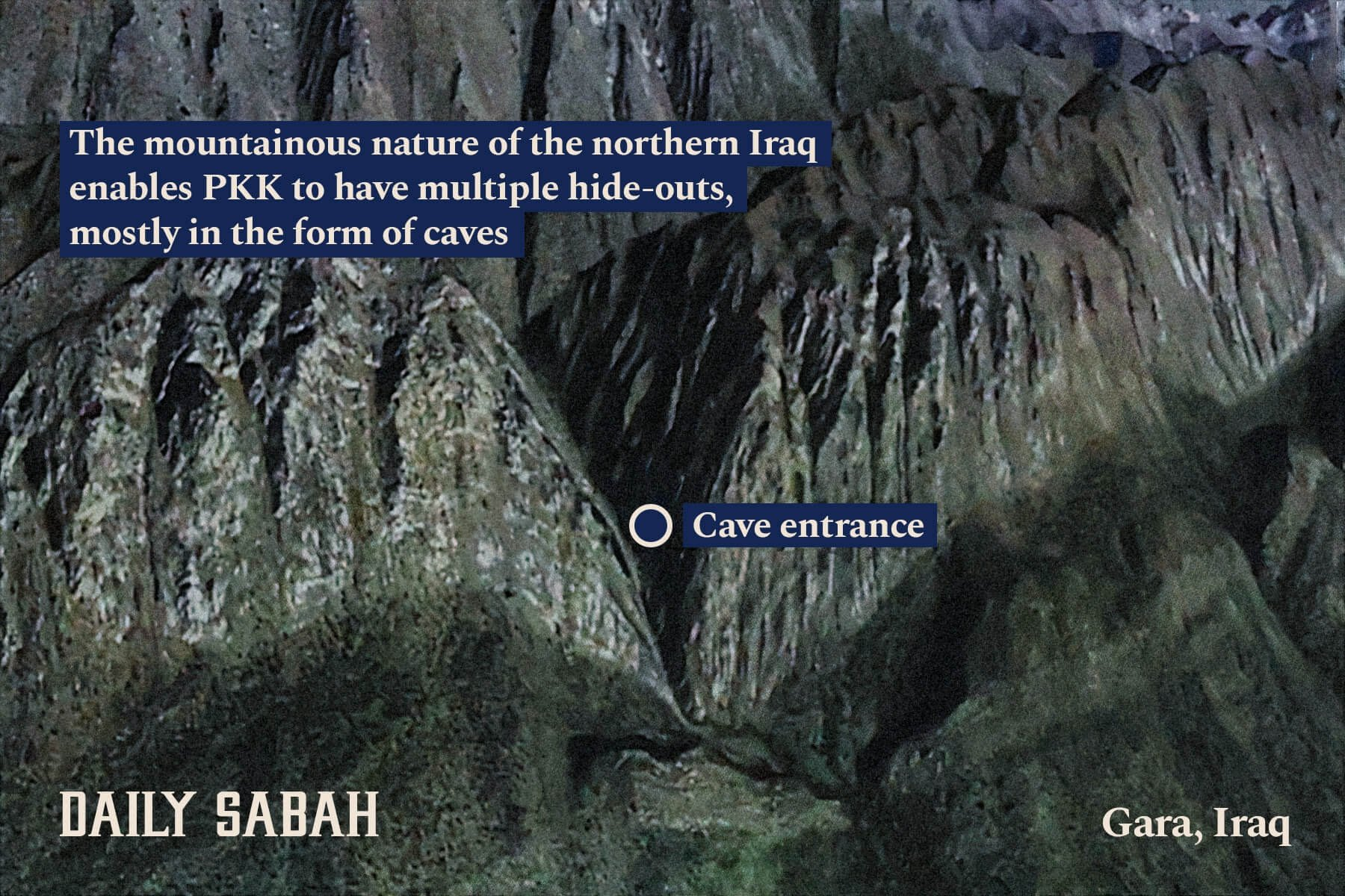 The mountainous area in northern Iraq's Gara region in which caves used by PKK terrorists were found is seen in this photo made public by the Turkish military on Feb. 14, 2021.