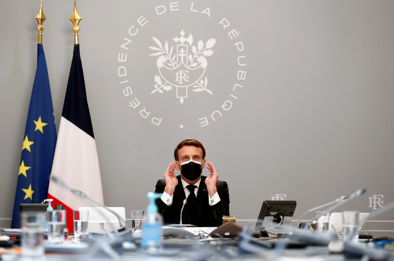 French President Emmanuel Macron delivers initial remarks during a videoconference meeting at Elysee Palace, Paris, France, Feb. 12, 2021. (Reuters Photo)