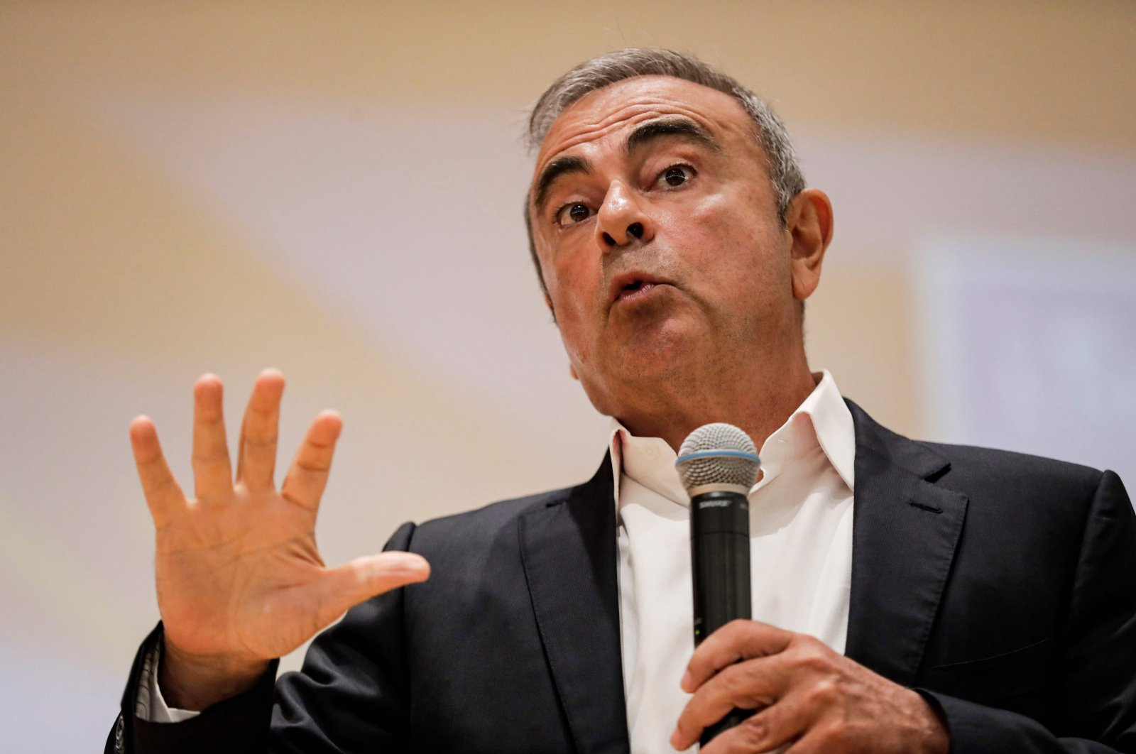 Former Nissan Motor Co. Chairman Carlos Ghosn speaks during a press conference in Jounieh, northern Lebanon, Sept. 29, 2020. (AFP Photo)