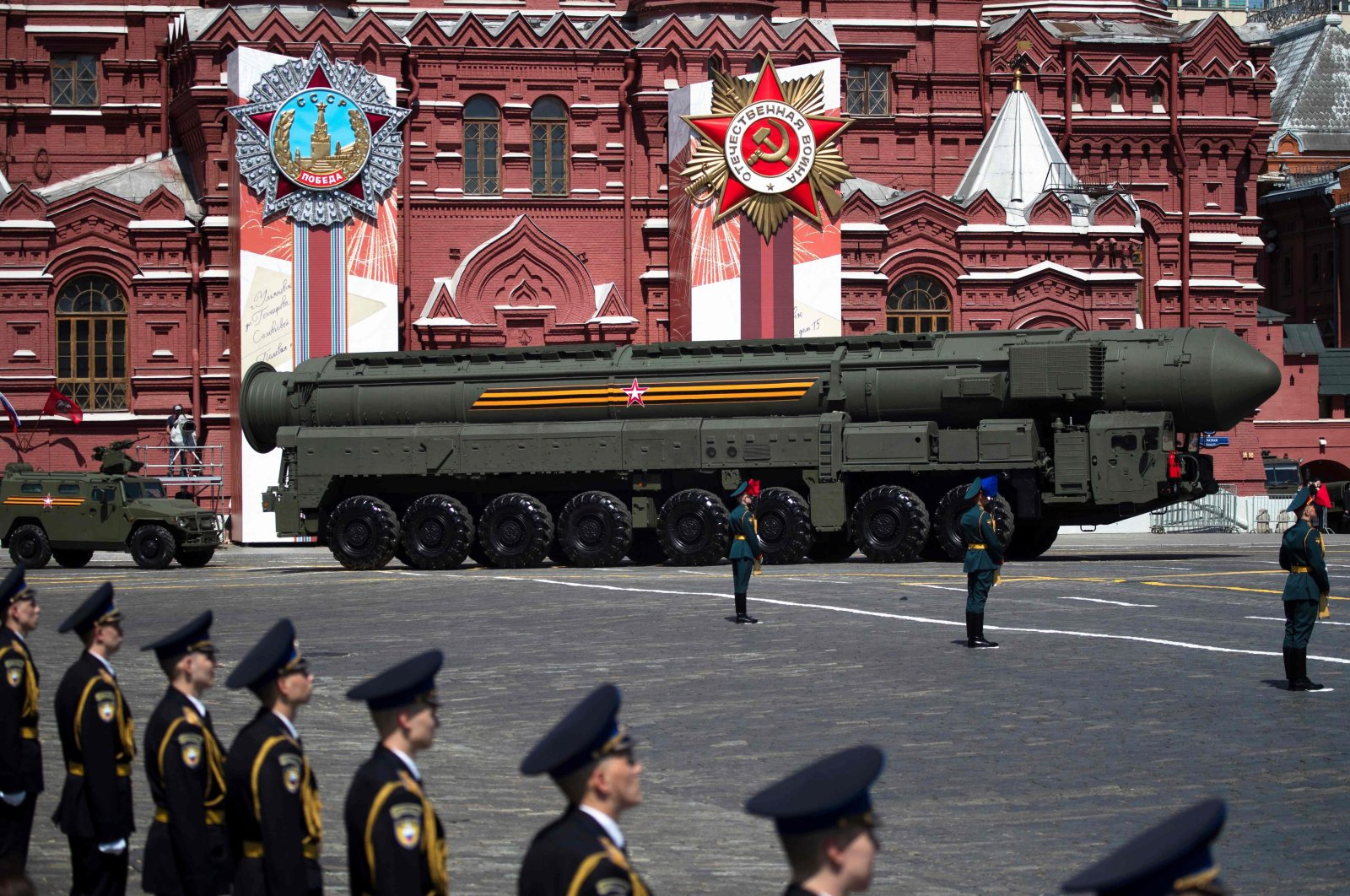 A Russian army RS-24 Yars ballistic missile system moves through Red Square during a military parade that marked the 75th anniversary of the Soviet victory over Nazi Germany in World War II, in Moscow, Russia, June 24, 2020. (AFP Photo)