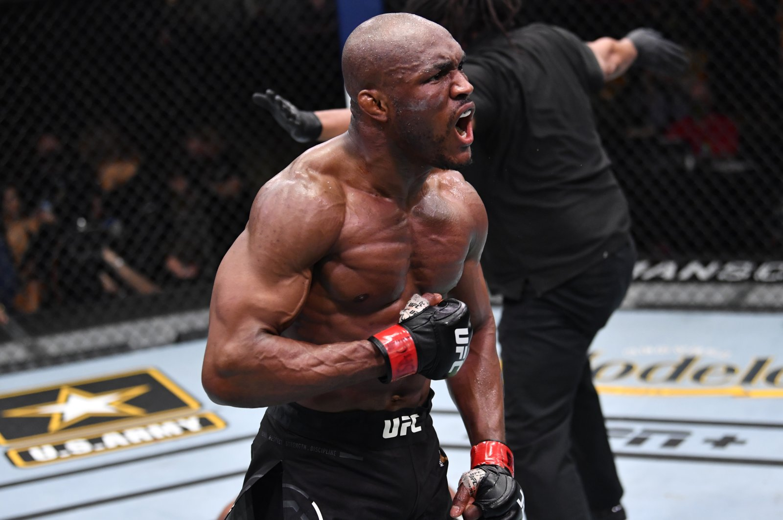 Nigeria's Kamaru Usman reacts after his victory over Brazil's Gilbert Burns in the UFC 258 event at UFC APEX, in Las Vegas, Nevada, U.S., Feb. 13, 2021. (Getty Images)