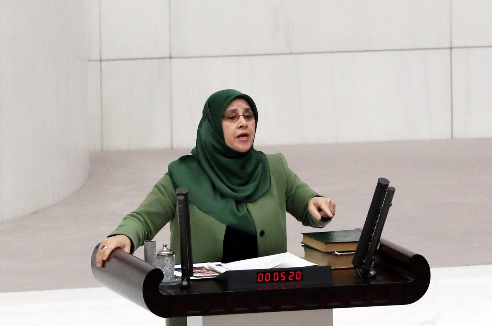 HDP Istanbul Lawmaker Hüda Kaya speaks at the Turkish Parliament on June 4, 2019. (Sabah File Photo)