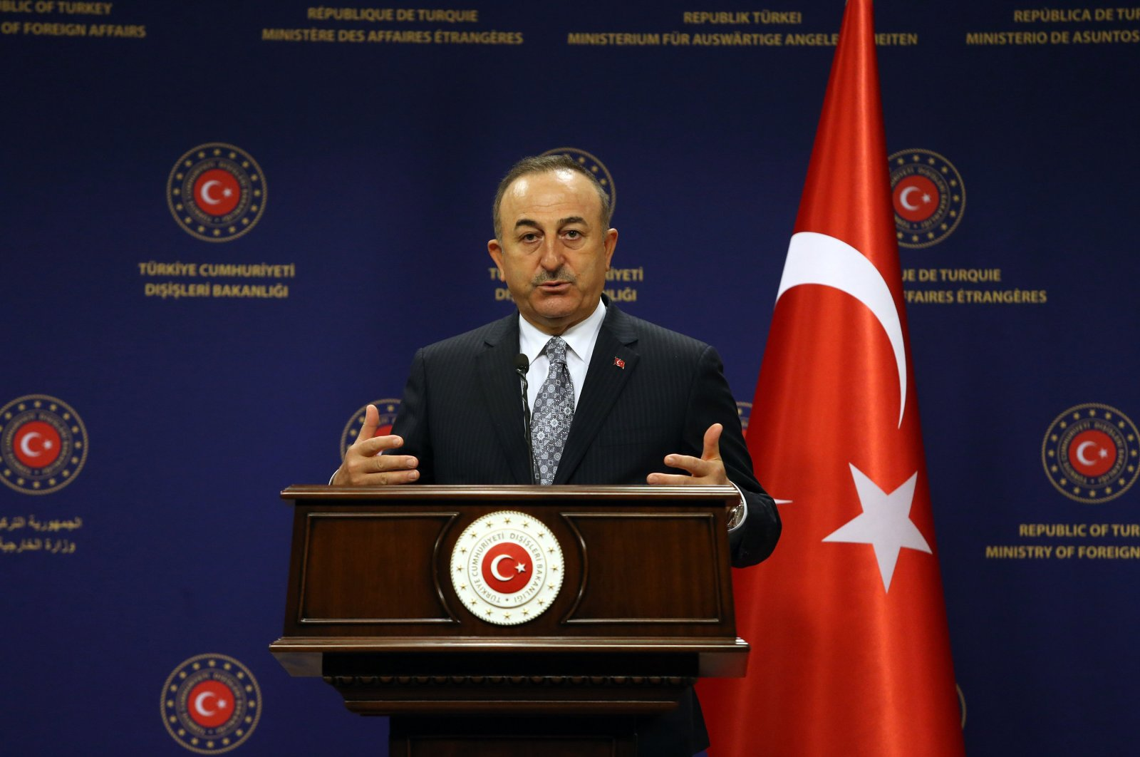 Foreign Minister Mevlüt Çavuşoğlu speaks at a news conference at the Foreign Ministry's headquarters in the capital Ankara, Turkey, Dec. 16, 2020. (Sabah Photo)