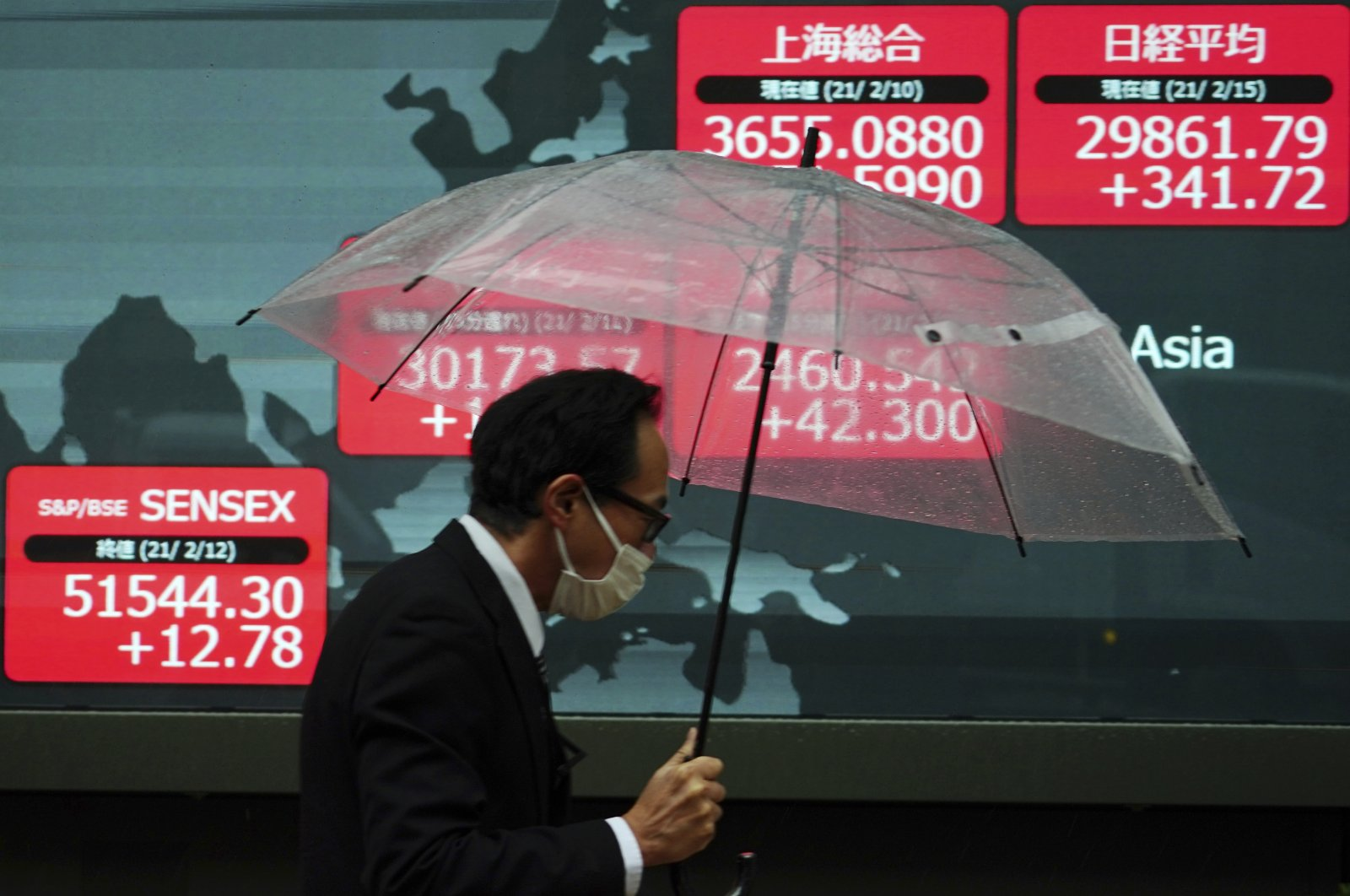 A man wearing a protective face mask to help curb the spread of the coronavirus walks in the rain past an electronic stock board showing Japan's Nikkei 225 and other Asian indexes at a securities firm Monday, Feb. 15, 2021. (AP Photo)