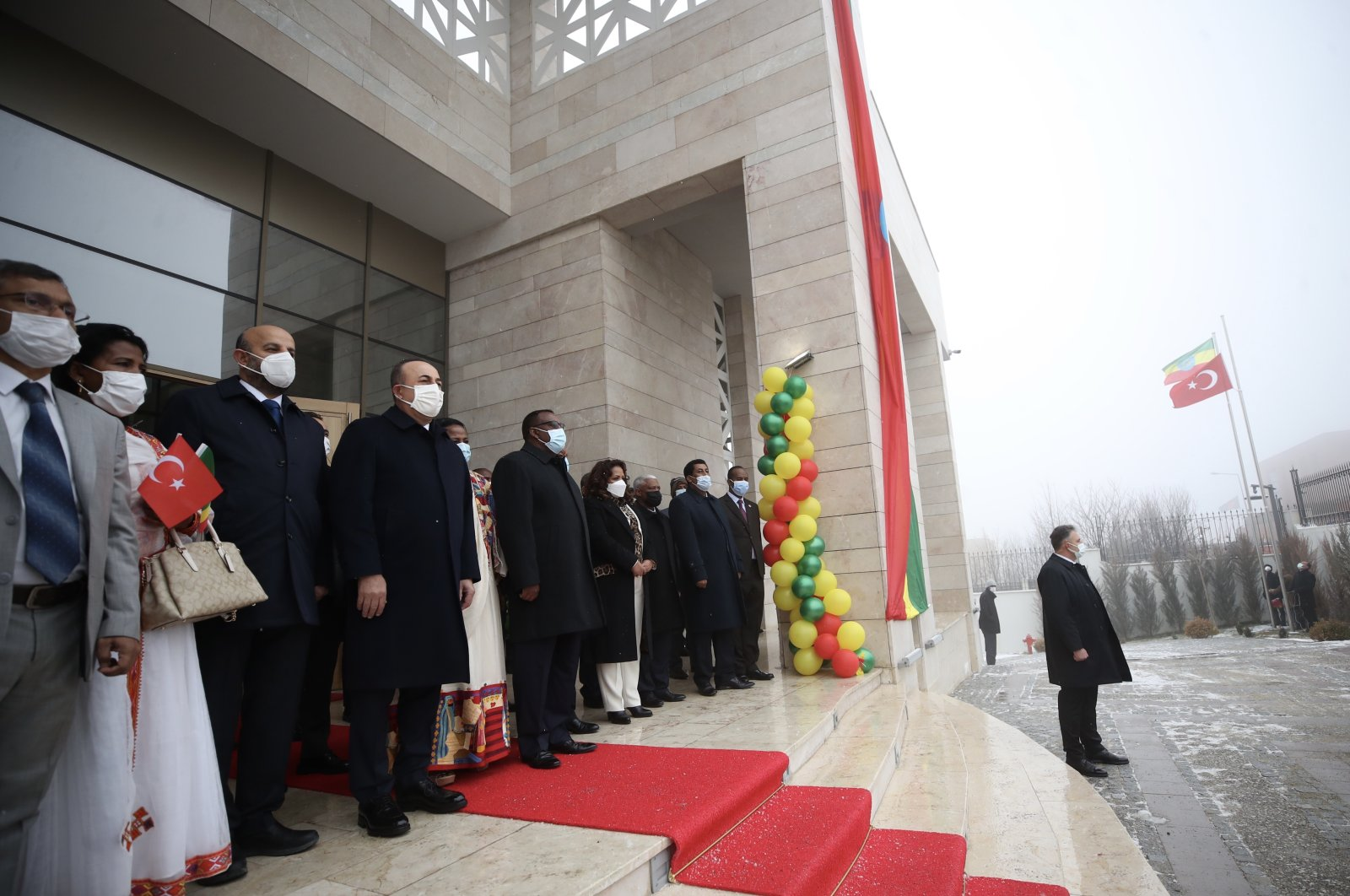 Foreign Minister Mevlüt Çavuşoğlu and his Ethiopian counterpart Demeke Mekonnen attend the inauguration ceremony of Ethiopia's new embassy building in Ankara, Turkey, Feb. 15, 2021 (AA Photo)