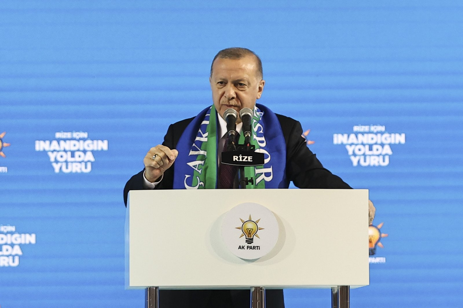 President Recep Tayyip Erdoğan speaks at the Justice and Development Party's (AK Party) congress in Rize province, northeastern Turkey, Feb. 15, 2021. (AA Photo)