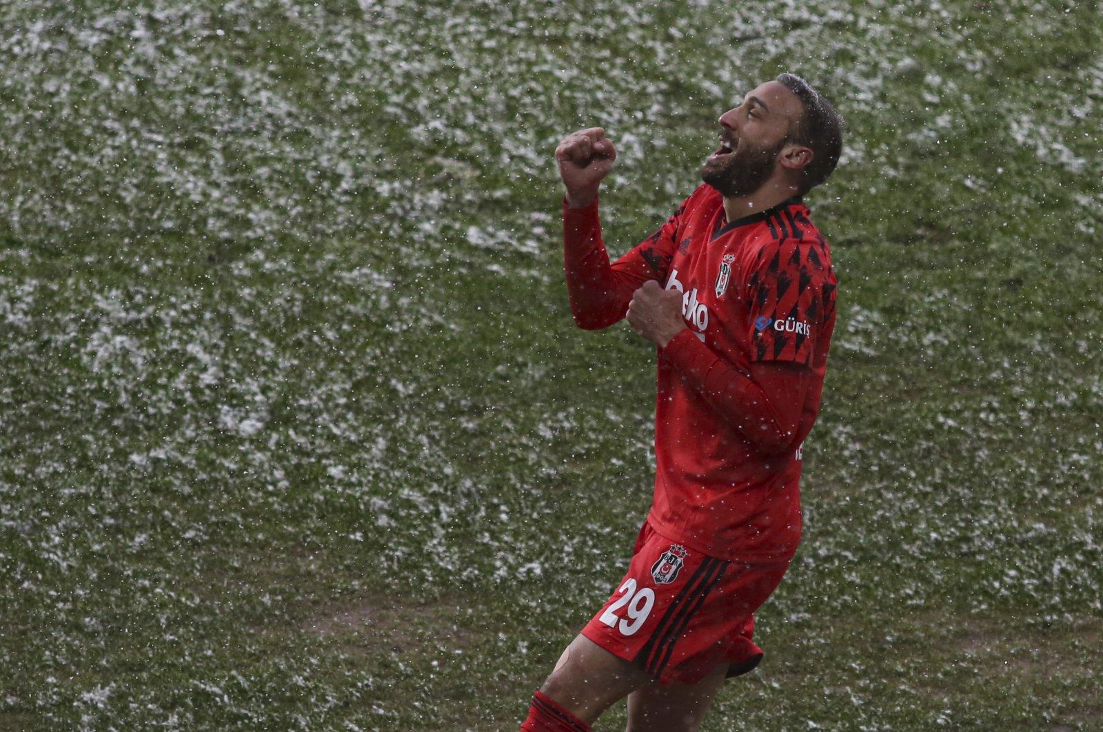 Beşiktaş forward Cenk Tosun celebrates scoring againstGençlerbirliği at Ankara's Eryaman Stadium, Ankara, Turkey, Feb. 15, 2021.