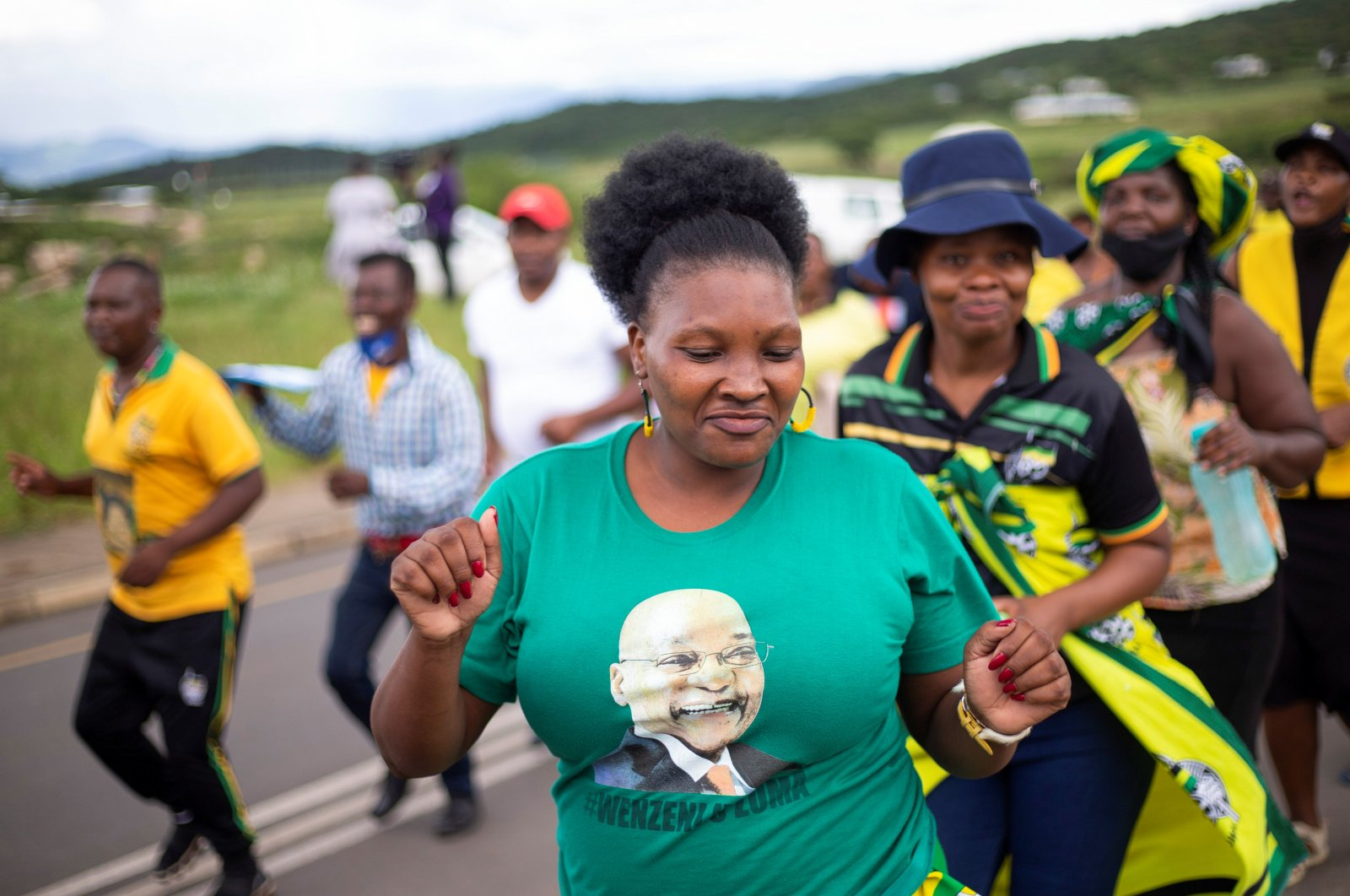 Supporters of South Africa's former President Jacob Zuma parade in front of his house, in Nkandla, South Africa, Feb. 15, 2021. (Reuters Photo)