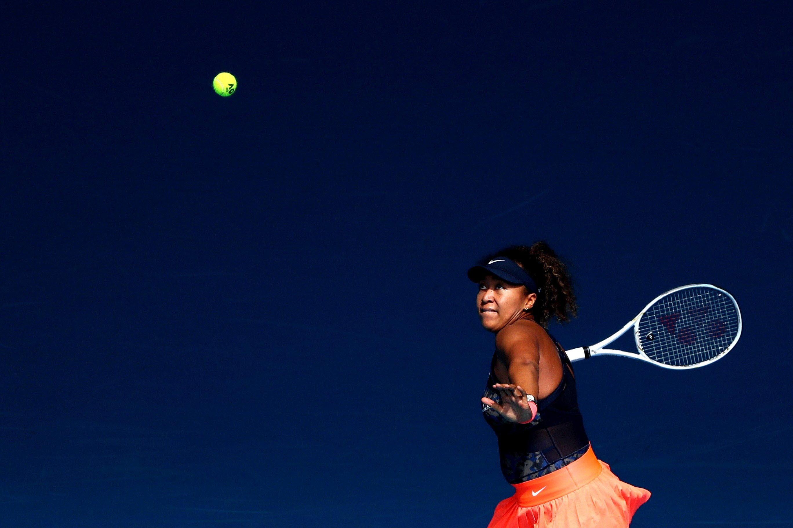 Japan's Naomi Osaka in action against Taiwan's Su-Wei Hsieh in the Australian Open quarterfinal in Melbourne, Australia, Feb. 16, 2021. (Reuters Photo)
