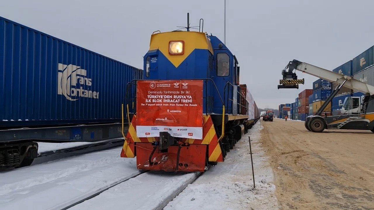 The first block export train from Turkey to Russia arrives at its final destination, Kaluga, Russia, Feb. 9, 2021. (IHA Photo)
