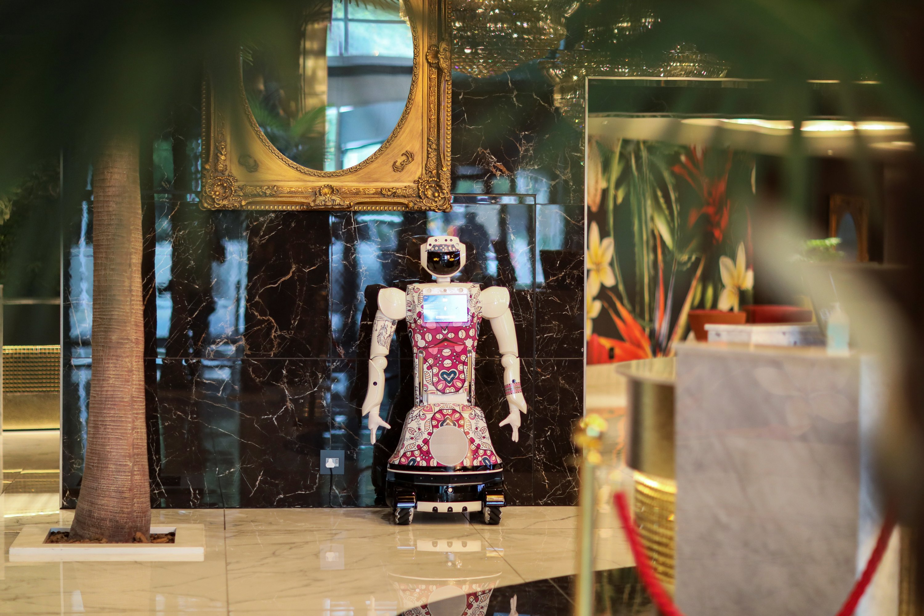 AI-powered robot Lexi stands in the lobby welcoming guests at Hotel Sky,  the first in Africa to use automated attendants, in Johannesburg, South Africa, Feb. 9, 2021. (Reuters Photo)