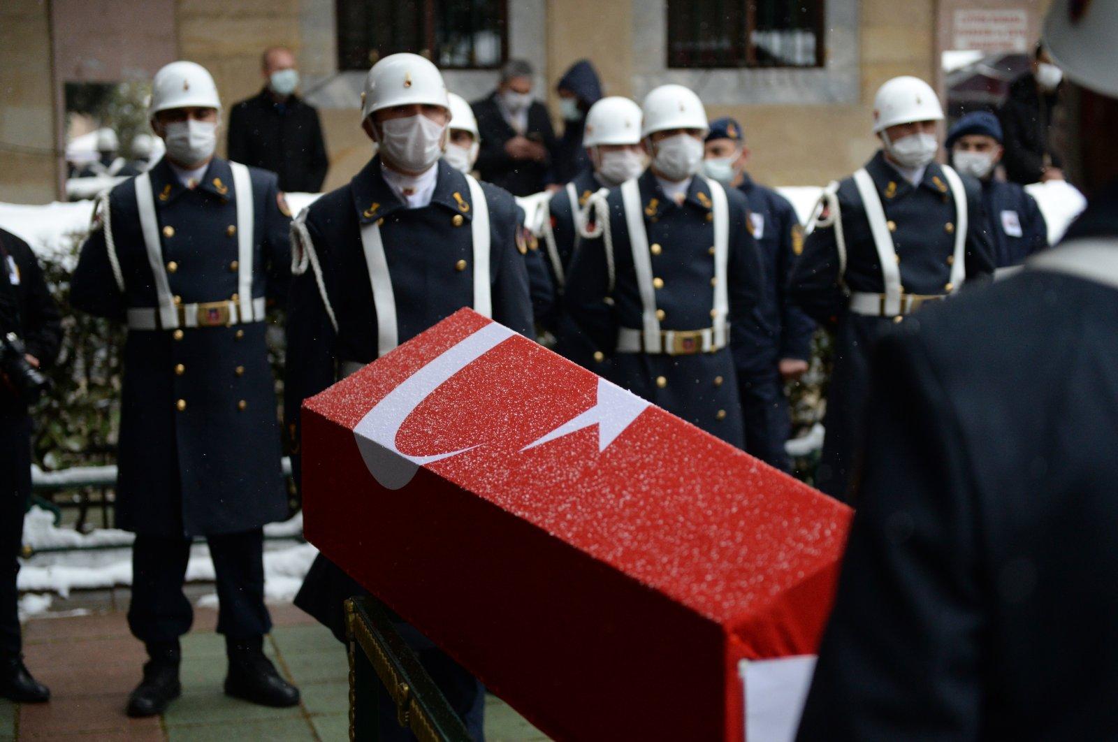 A funeral ceremony is held for GendarmerieSpecialist Sgt. Mevlüt Kahveci who was executed by the PKK terrorist group in northern Iraq's Gara region, in Eskişehir province,Turkey, Feb. 15, 2021. (AA Photo)