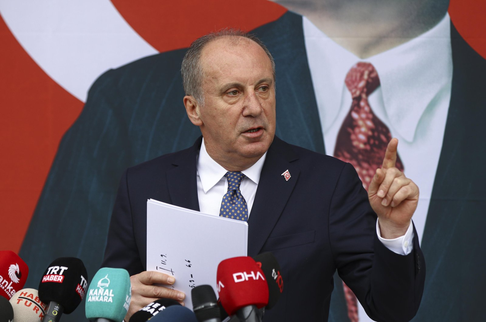 Muharrem Ince speaks at a press conference in the capital Ankara, Feb. 8, 2021. (DHA Photo)
