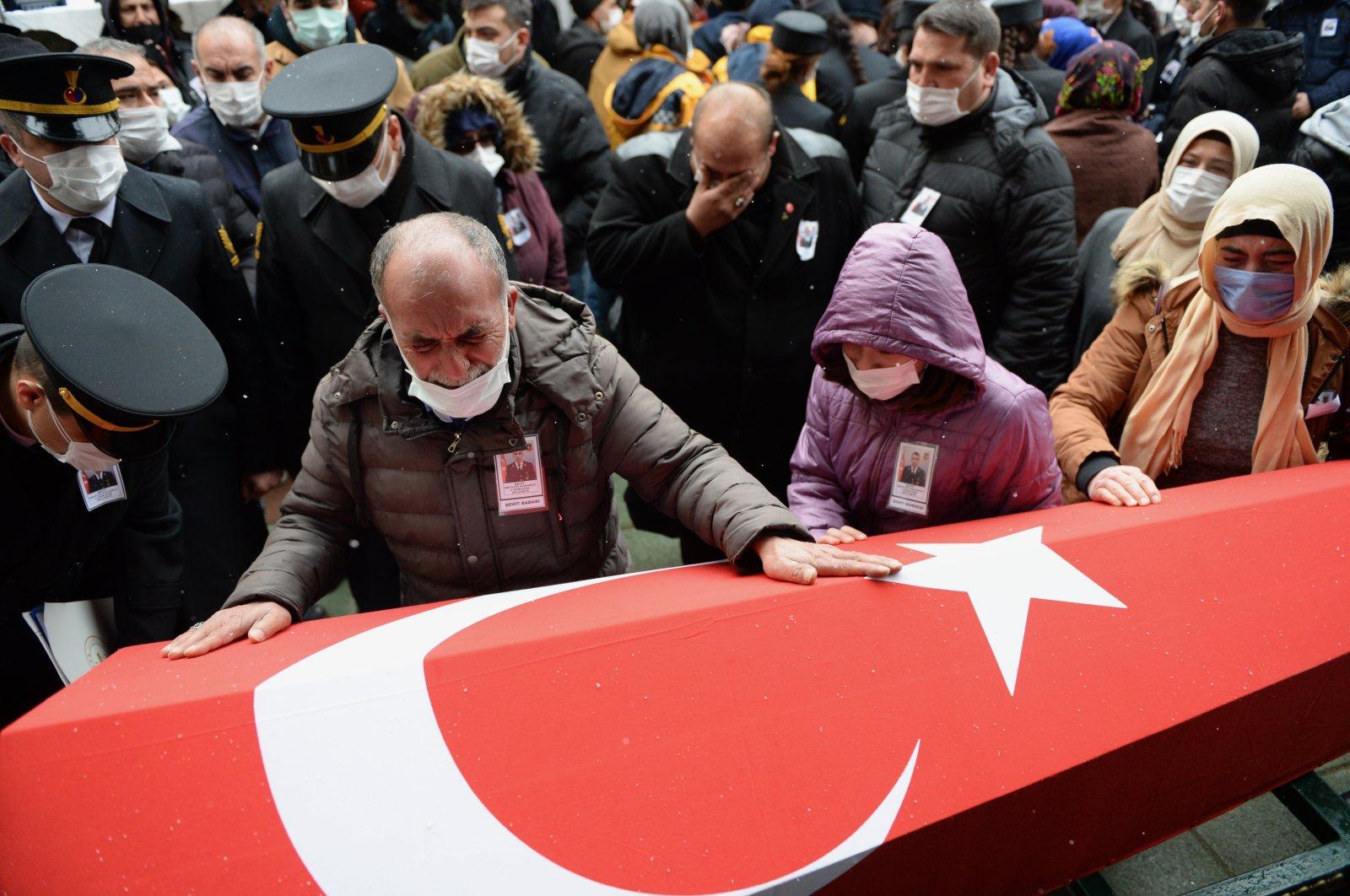 The funeral of Gendarmerie Specialist Sgt. Mevlüt Kahveci who was executed by the PKK terrorist group in northern Iraq's Gara region, in Eskişehir, Turkey, Feb. 15, 2021. (AA Photo)