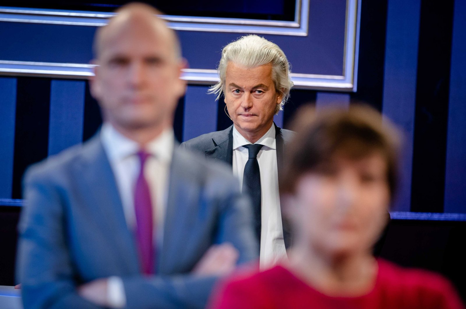 Lilianne Ploumen (Pvda), Gert-Jan Segers (ChristenUnie) and Geert Wilders (PVV) during the first party leader debate for the House of Representatives elections, the Hague, the Netherlands, Feb. 8, 2021. (EPA Photo)