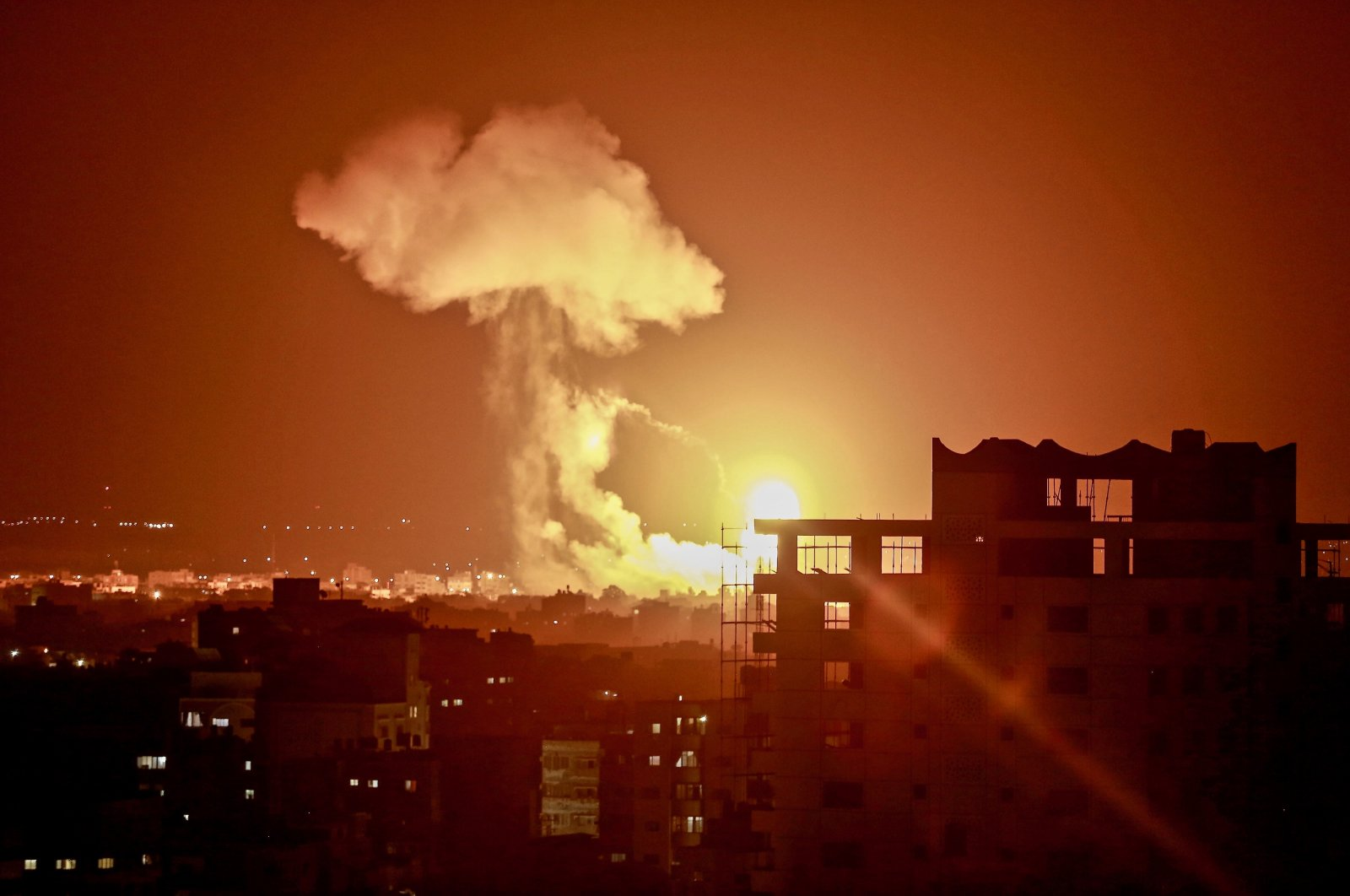 An explosion goes off during an Israeli airstrike in the Gaza Strip, Palestine, Aug. 18, 2020. (Photo by Getty Images)