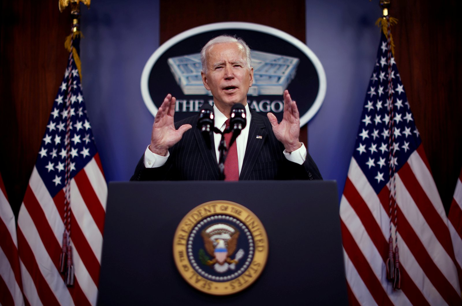 U.S. President Joe Biden delivers remarks to Defense Department personnel during a visit to the Pentagon in Arlington, Virginia, U.S., Feb. 10, 2021. (Reuters File Photo)
