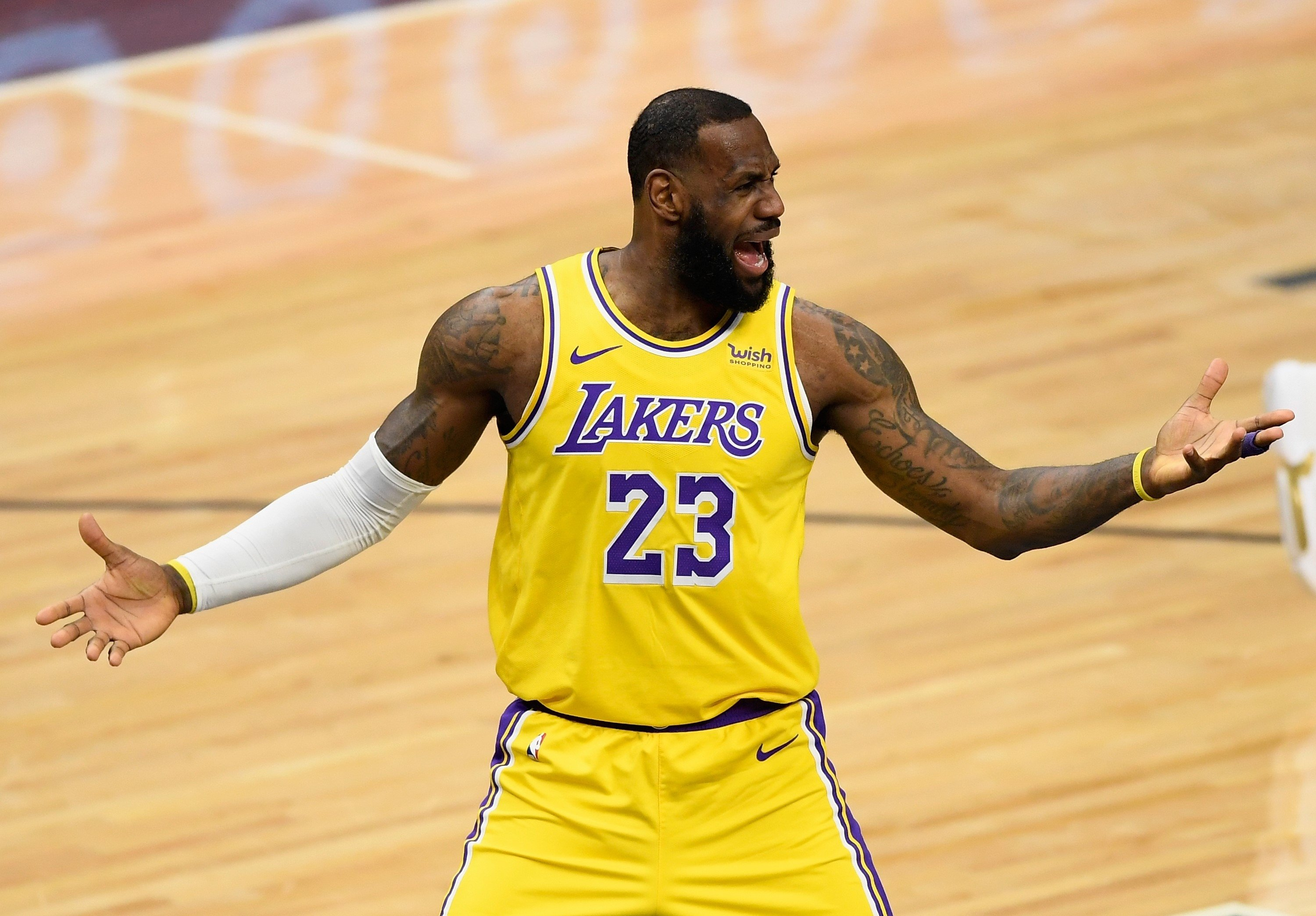 Los Angeles Lakers' LeBron James reacts during the game against Minnesota Timberwolves at Target Center, Minneapolis, Minnesota, Feb. 16, 2021. (AFP Photo)
