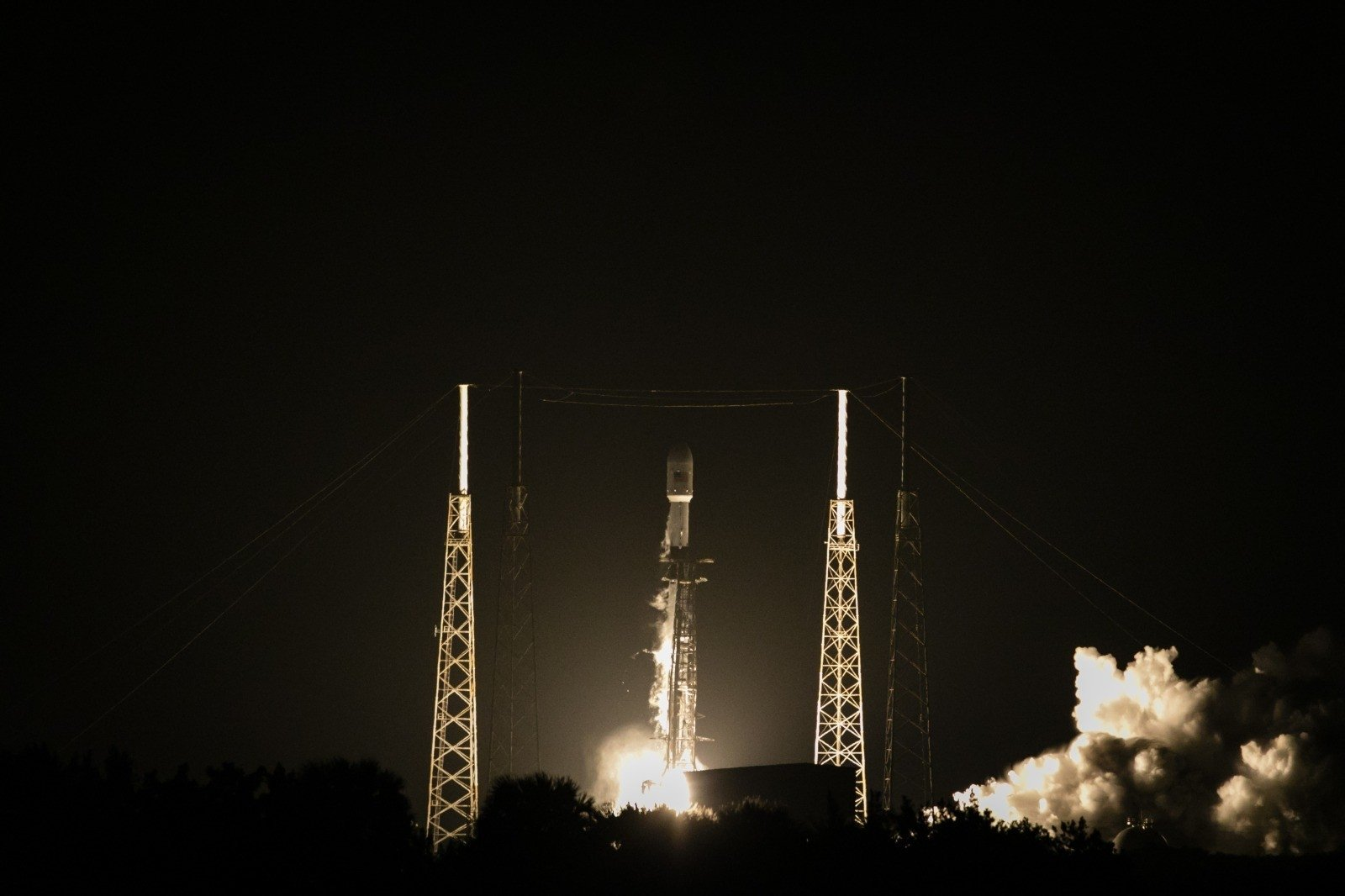 Turkey's new Türksat 5A satellite, carried by a SpaceX Falcon 9 rocket, launches from Cape Canaveral Space Force Station, in Cape Canaveral, Florida, U.S., Jan. 7, 2020. (IHA Photo)